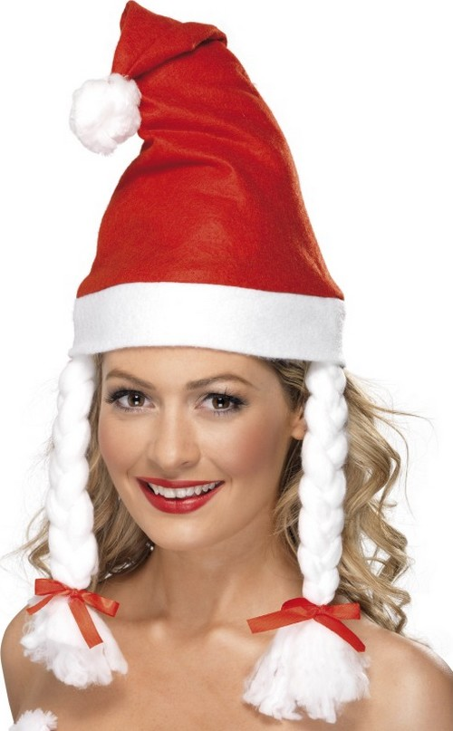 santa hat with pigtails for hats and fancy dress