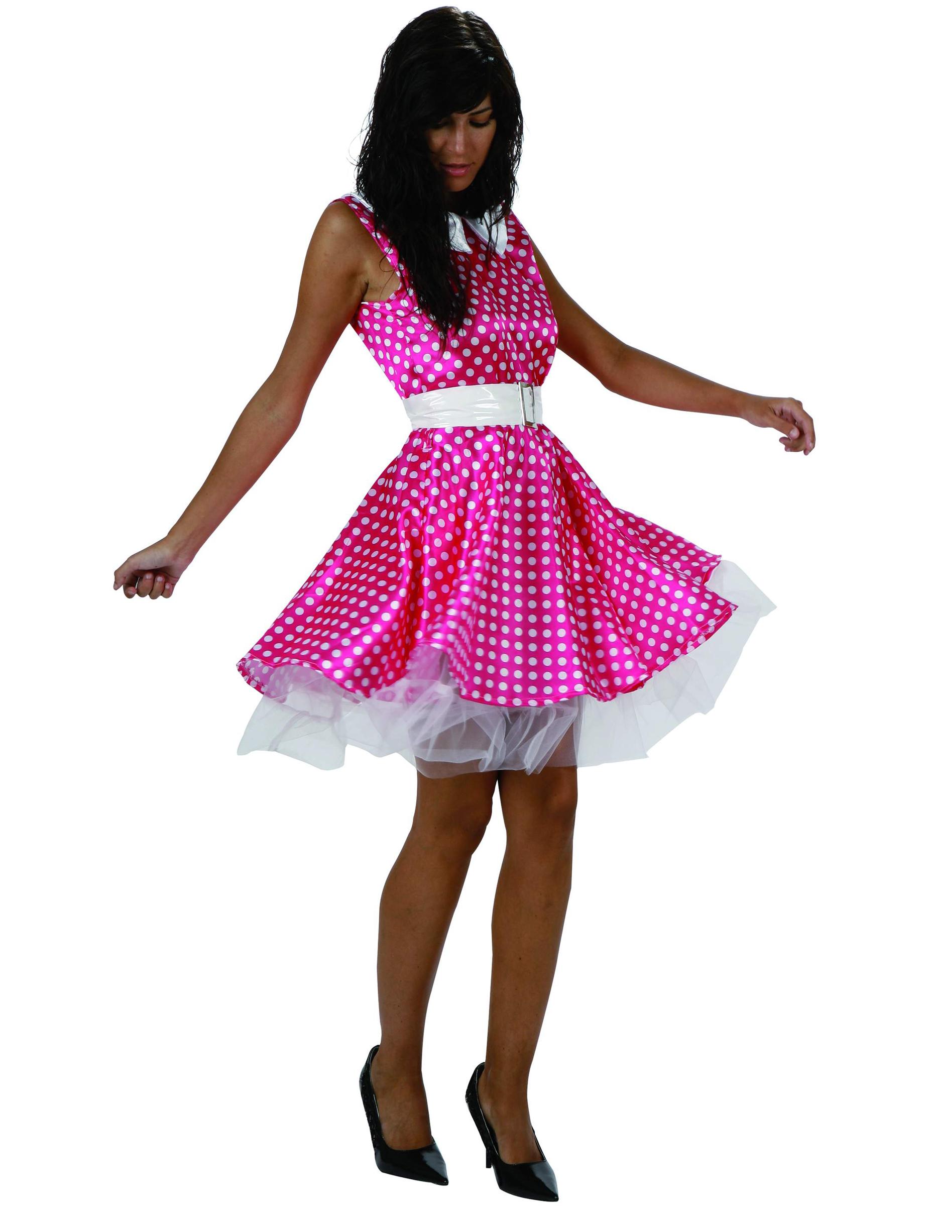 Disfraz rosa de los a os 50 para mujer for Disfraces de los anos 60