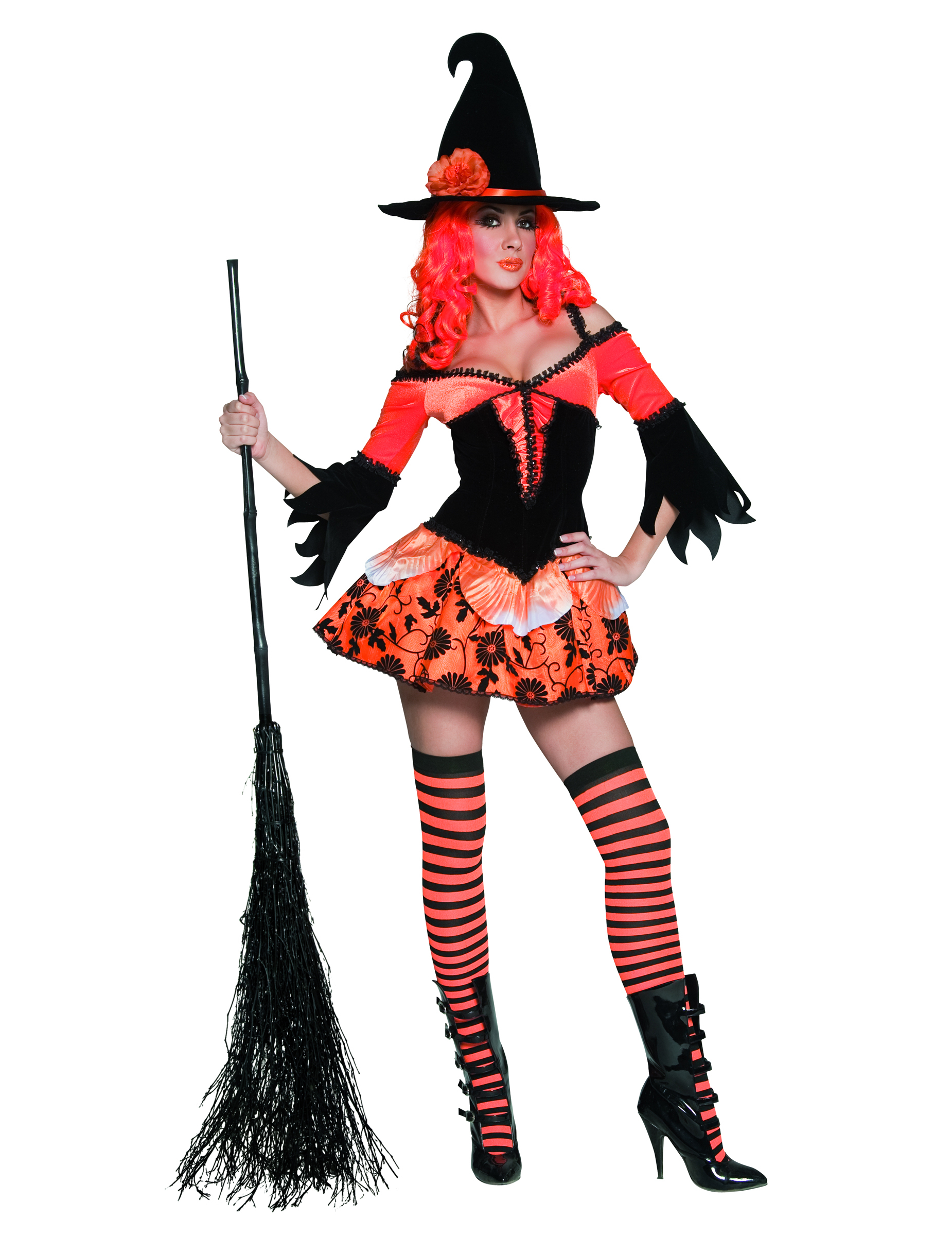 Orange And Black Halloween Witch Costume For Women Adults Costumes And Fancy Dress Costumes