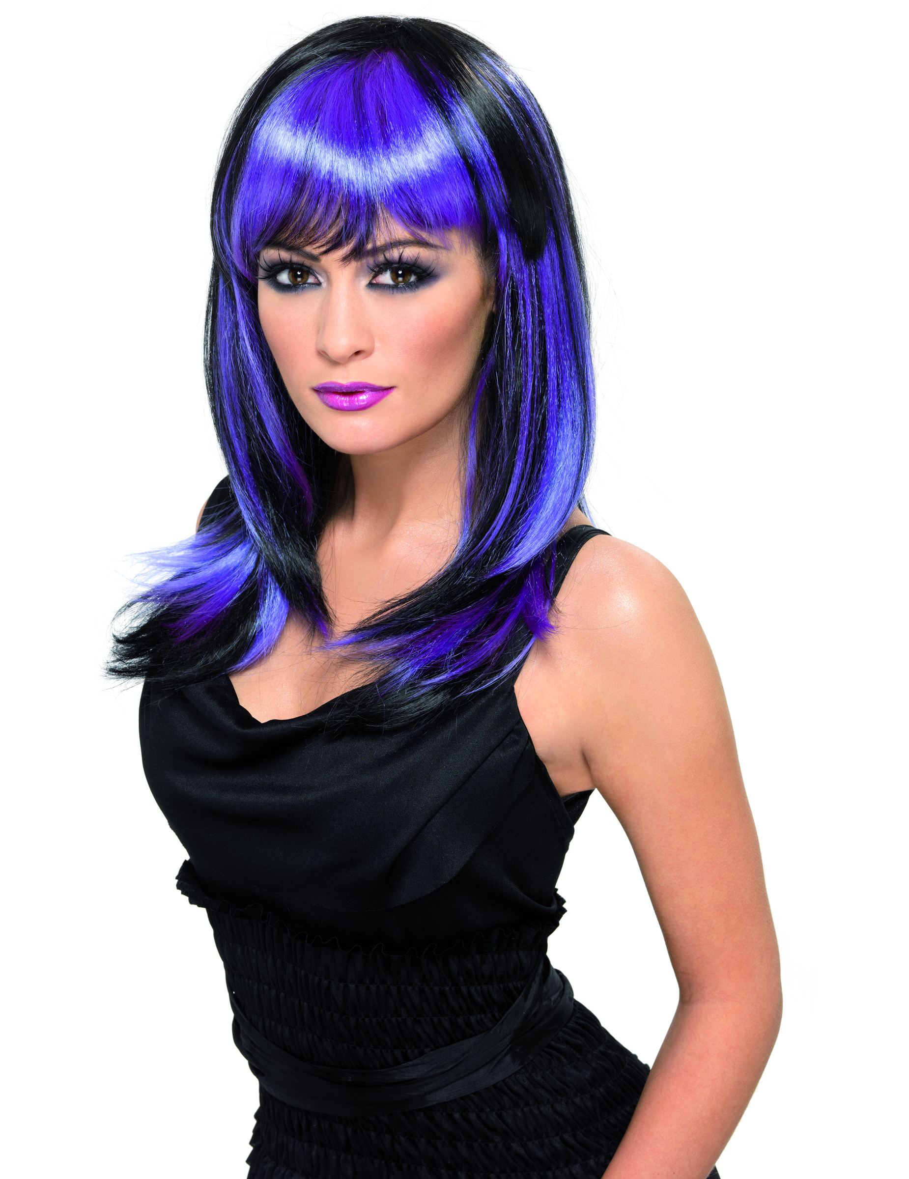 Main - Wigs - Long black wig with violet highlights.