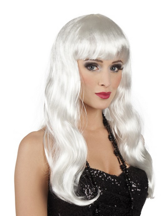 Long white wig for women : Wigs, and fancy dress costumes ...
