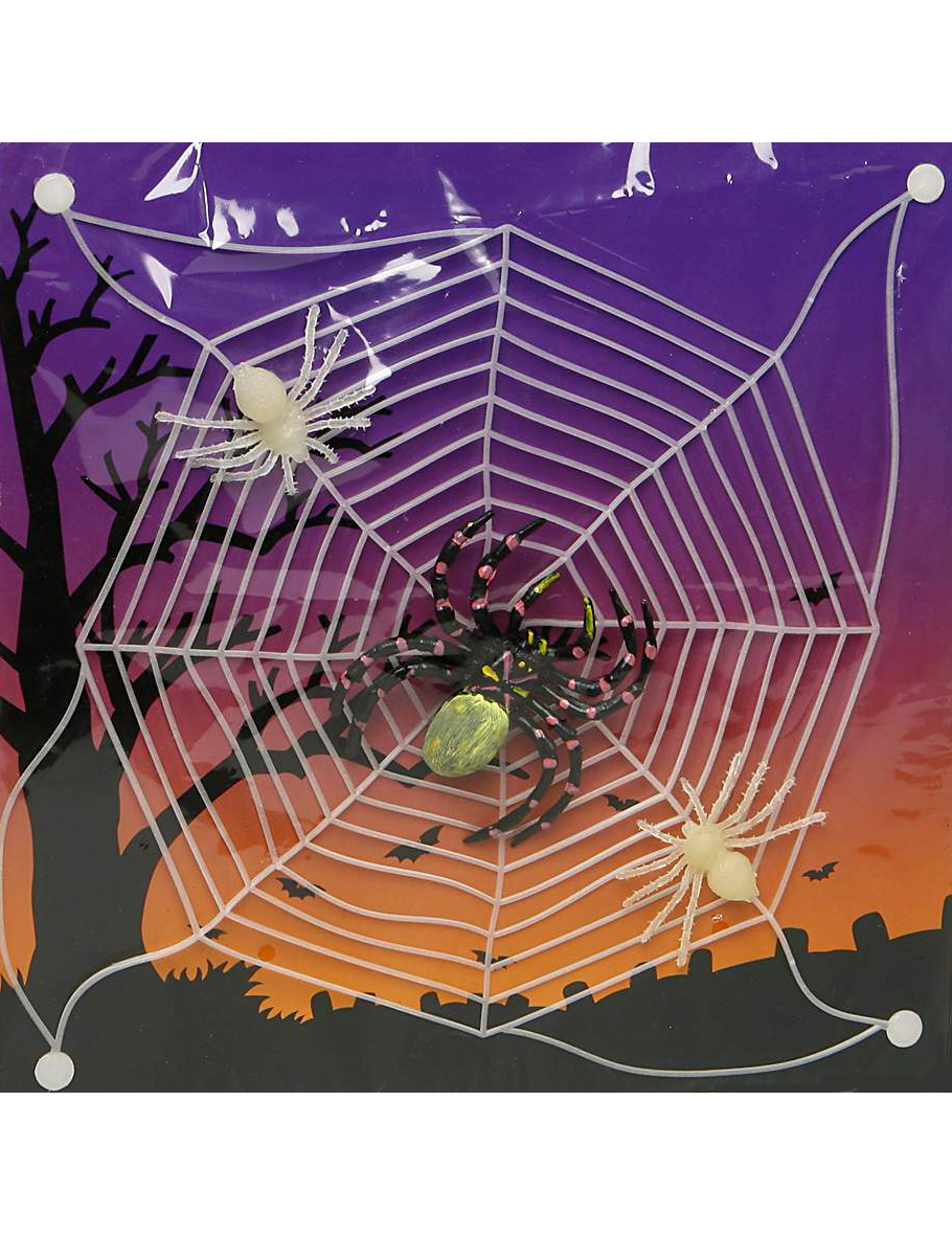 glow in the dark halloween spider web decorations and. Black Bedroom Furniture Sets. Home Design Ideas