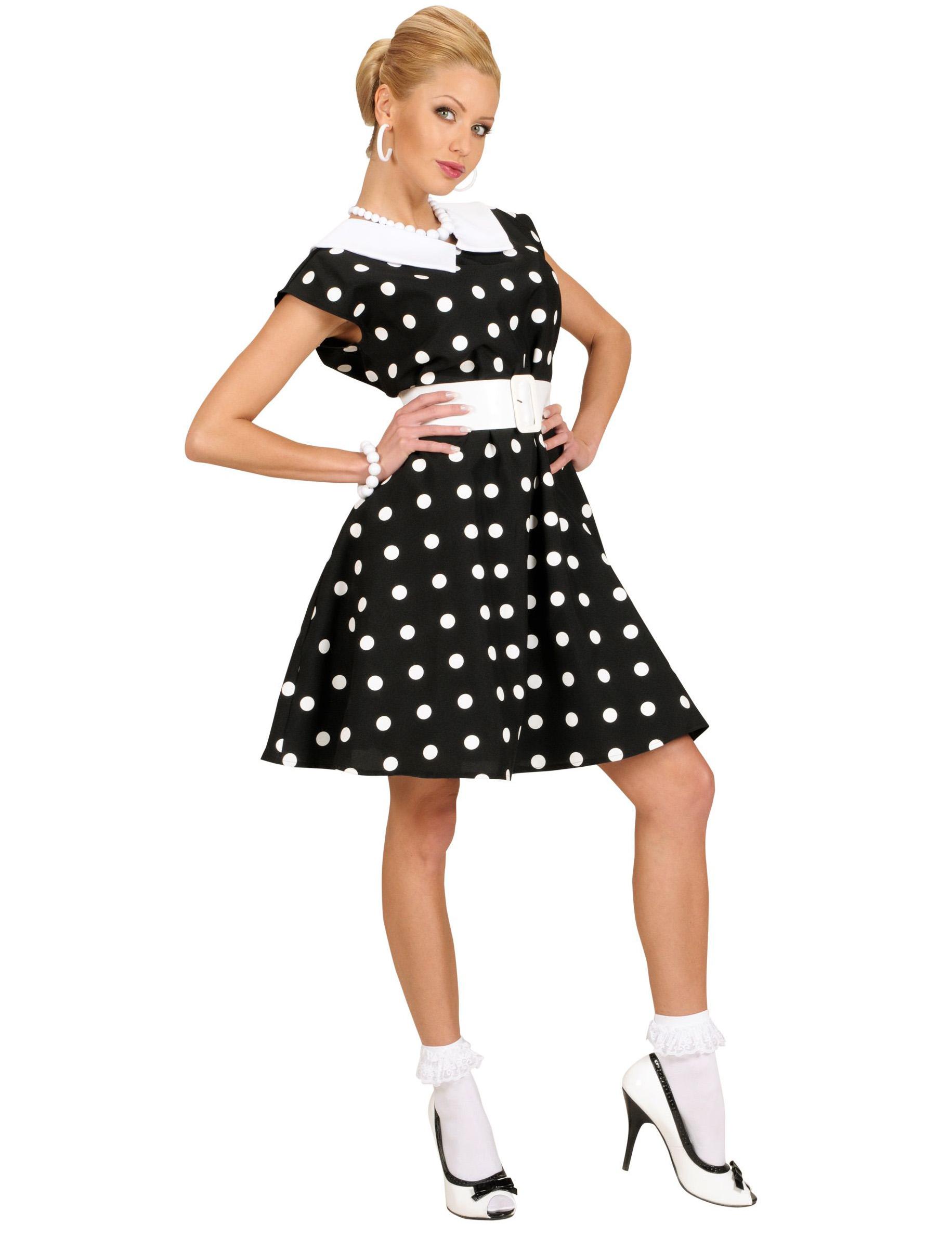 d guisement robe noire pois ann es 50 femme deguise toi achat de d guisements adultes. Black Bedroom Furniture Sets. Home Design Ideas