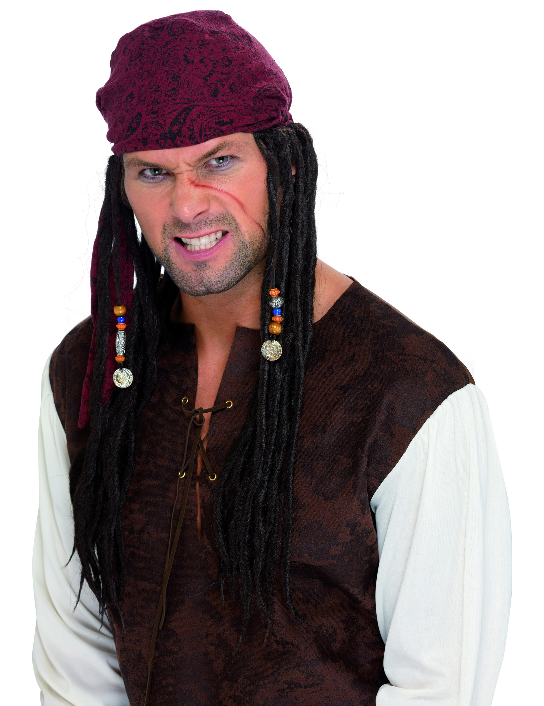 Perruque dreadlocks style pirate deguisetoi - Maquillage pirate homme ...