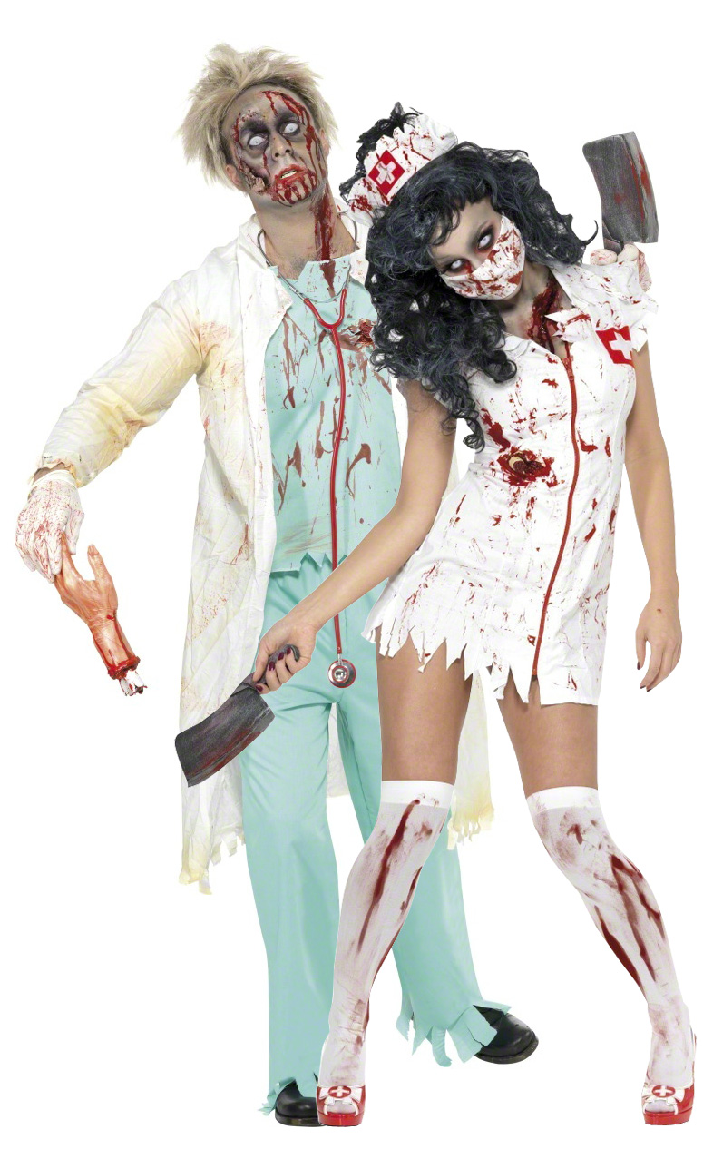 Halloween nurse and doctor zombies costumes for couple - Deguisement couple halloween ...