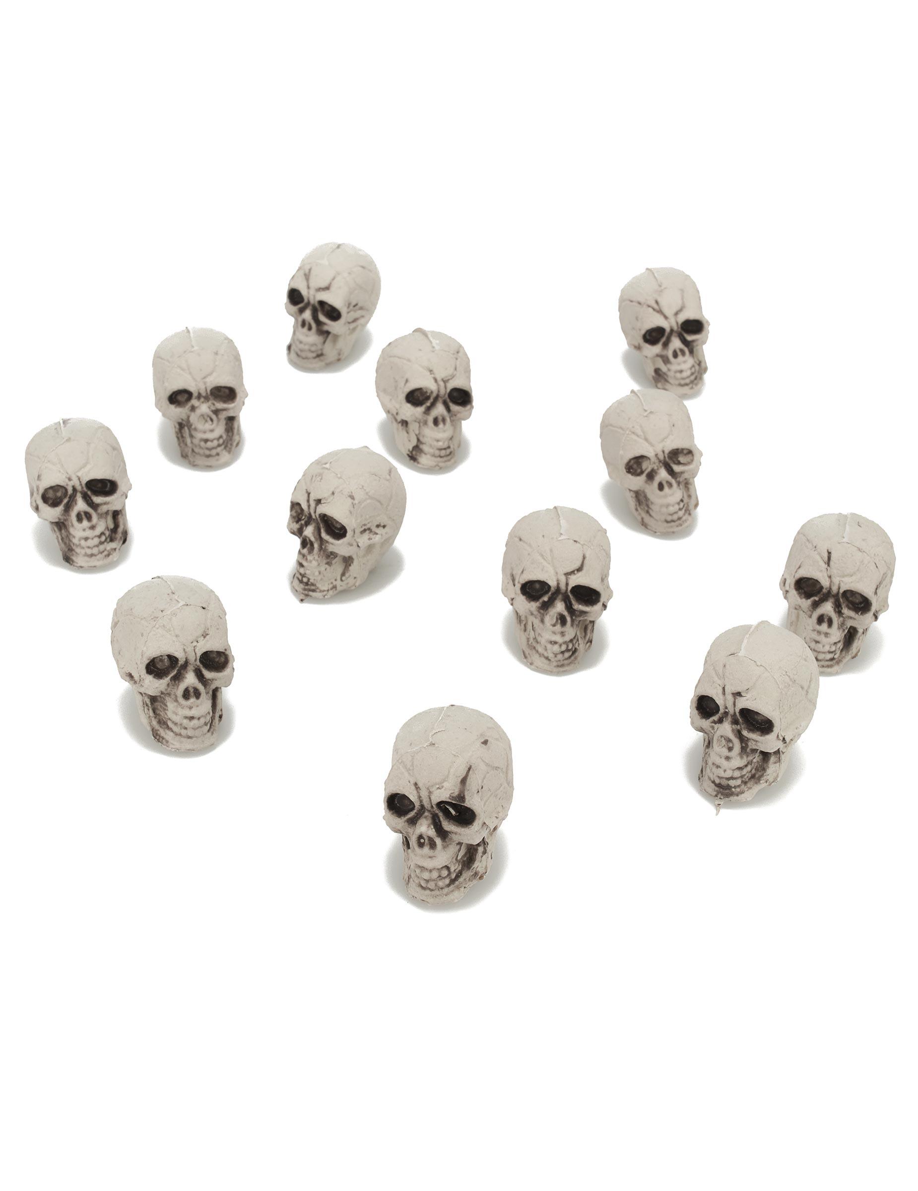 12 petites t tes de mort plastique deguise toi achat de decoration animation. Black Bedroom Furniture Sets. Home Design Ideas