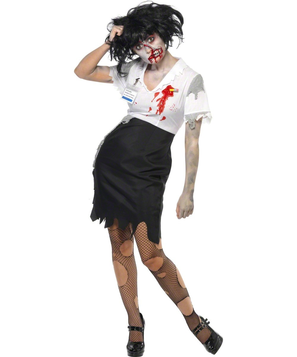 Zombie Secretary Costume Halloween Female Adults Costumes And Fancy Dress Costumes Vegaoo