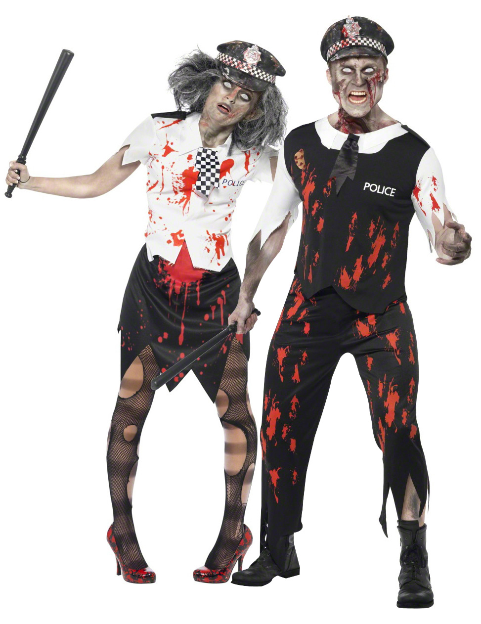 Zombie police officers costume for couples