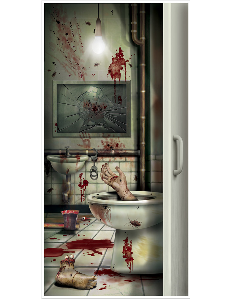 D coration de porte toilette en sang halloween deguise for Decoration porte photo
