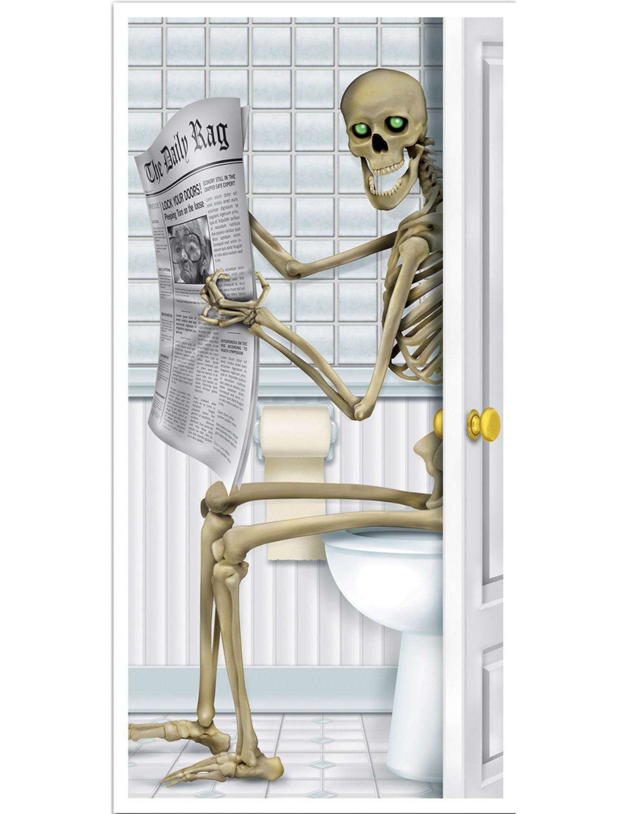 Decorazione con scheletro per la porta del bagno - Decorazione bagno ...