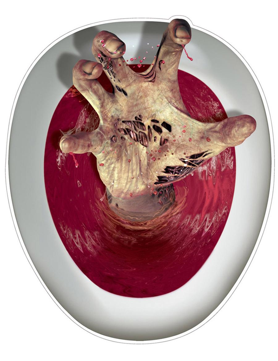 D coration autocollante pour abattant de wc main de zombie deguise toi ach - Lunette de toilette originale ...