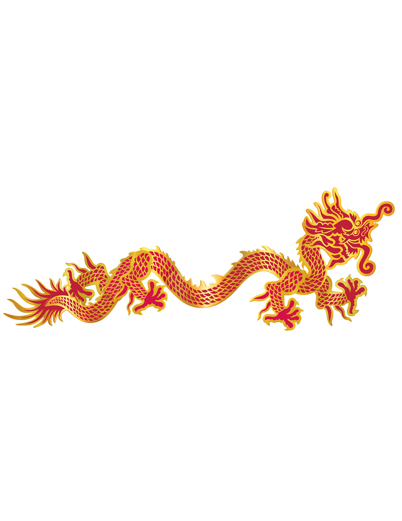 D coration murale dragon rouge et or nouvel an chinois for Decoration nouvel an chinois