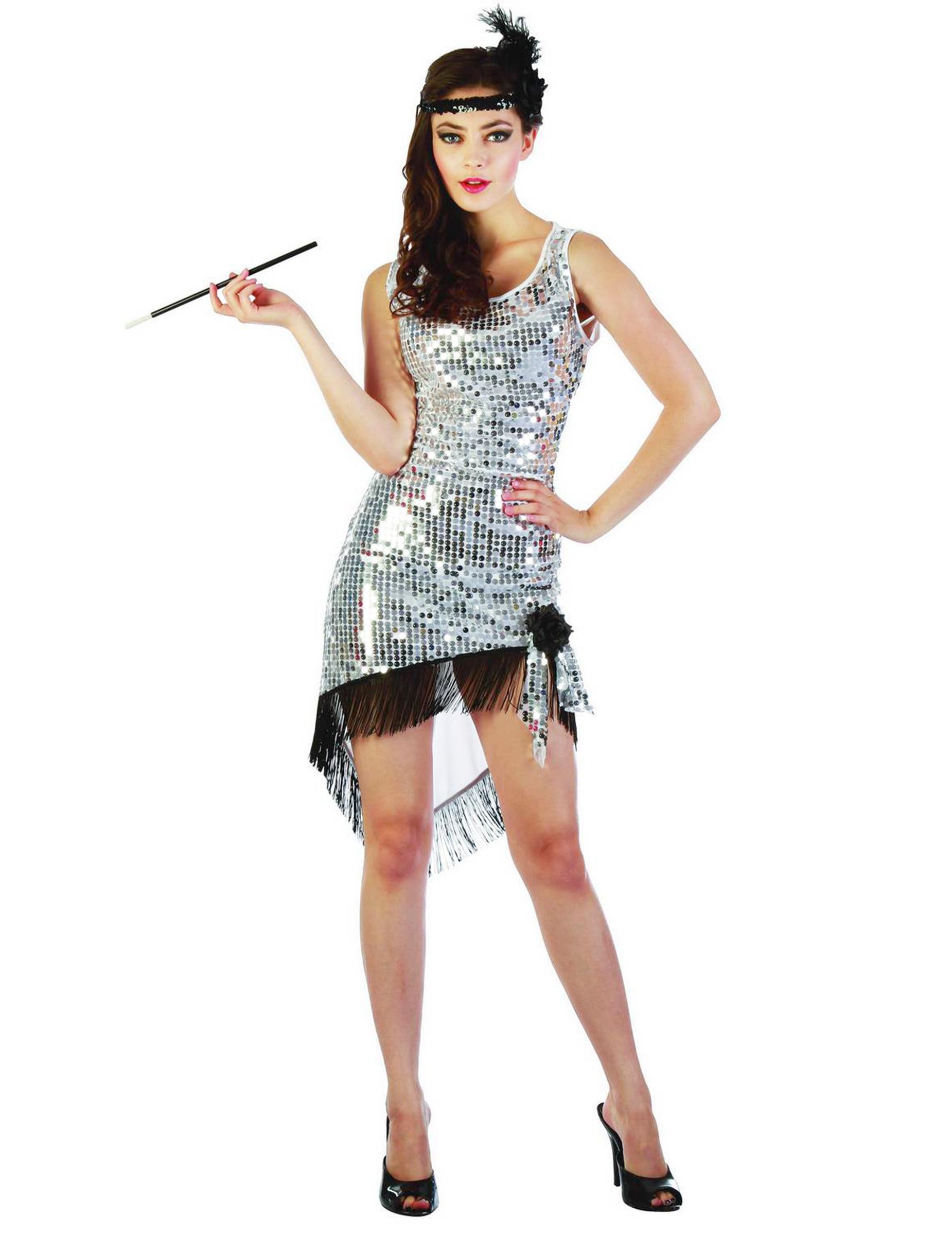 D guisement charleston sexy femme argent sequins - Trajes de carnaval de epoca ...