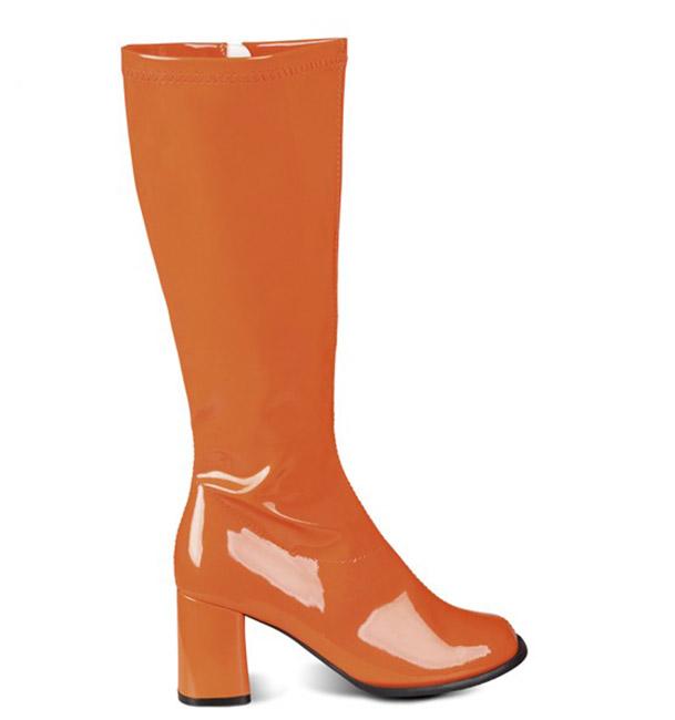 Bottes orange vernies femme