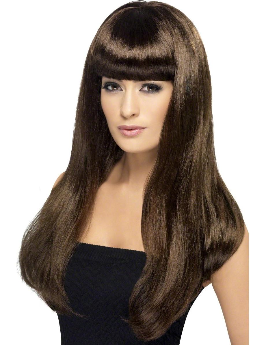 perruque longue chatain frange femme deguise toi achat de perruques. Black Bedroom Furniture Sets. Home Design Ideas