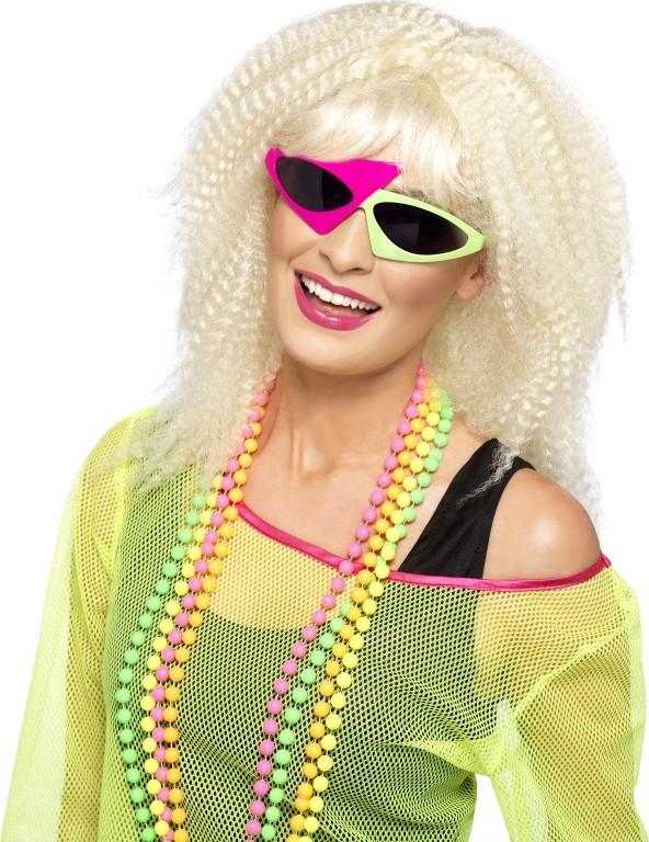 Rosa gr ne 80er jahre brille f r damen accessoires und for Accessoires 80er party