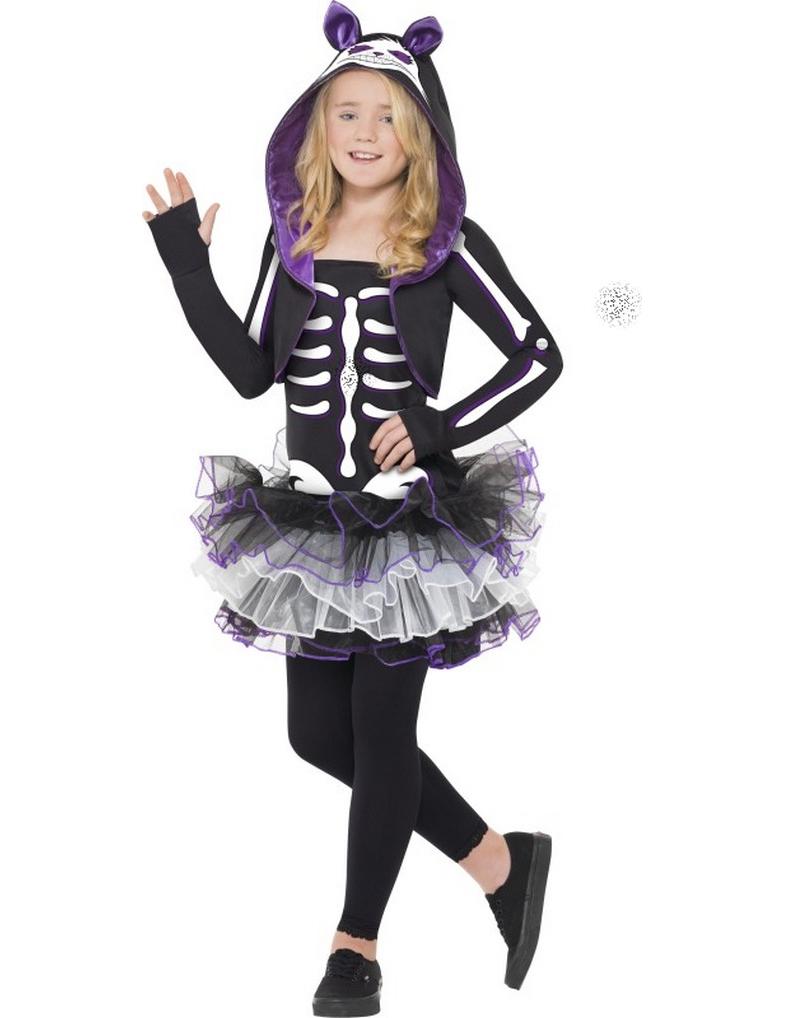 d guisement squelette chat violet fille halloween. Black Bedroom Furniture Sets. Home Design Ideas