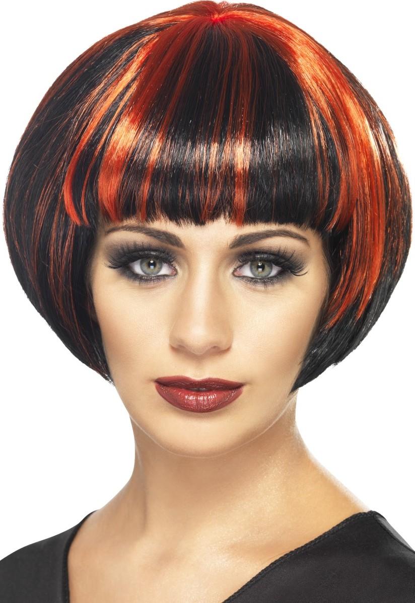 Perruque carré noir et rouge femme, achat de Perruques sur VegaooPro, grossiste en déguisements