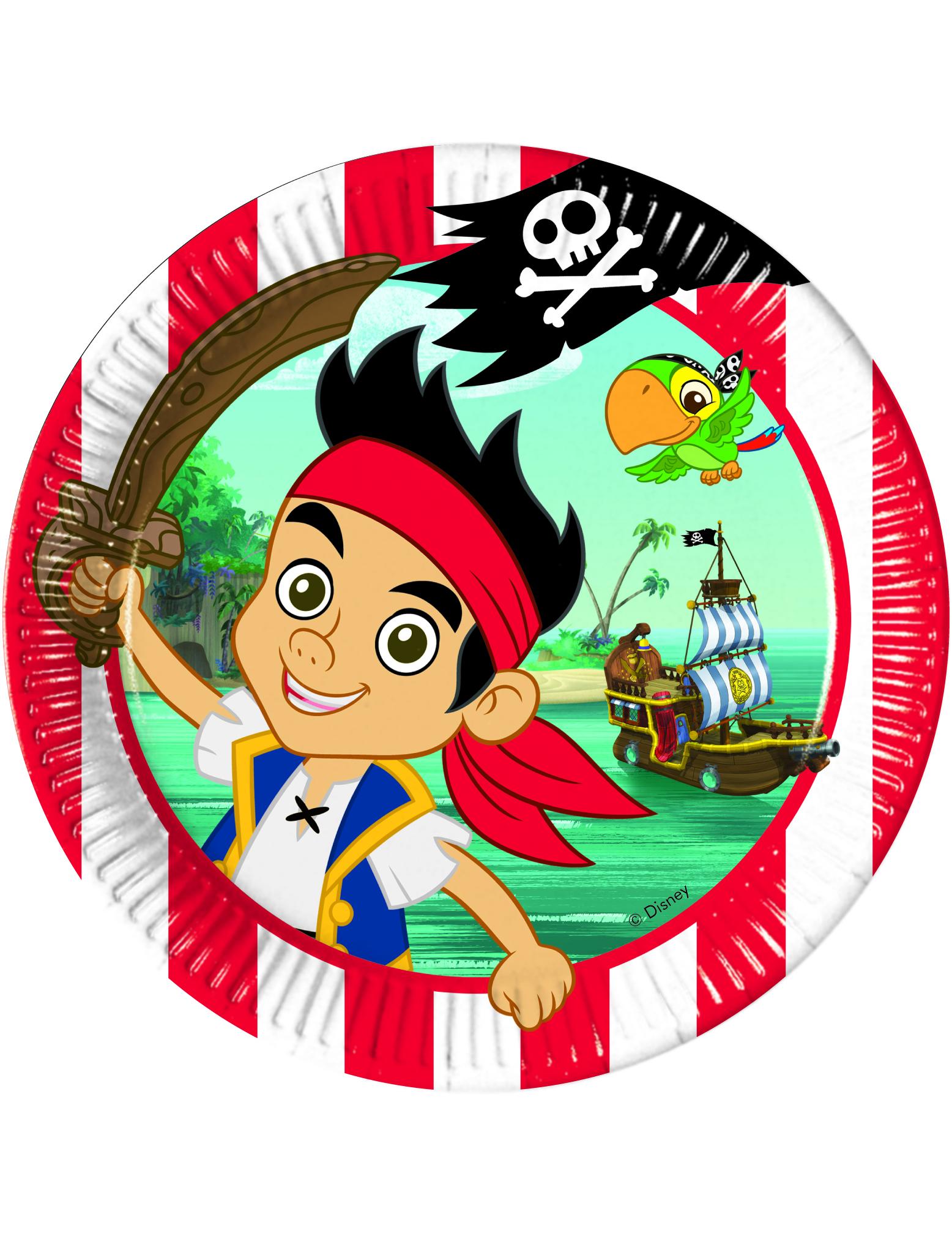 8 asiettes jake et les pirates 23 cm deguise toi achat de decoration animation - Jake et les pirates ...