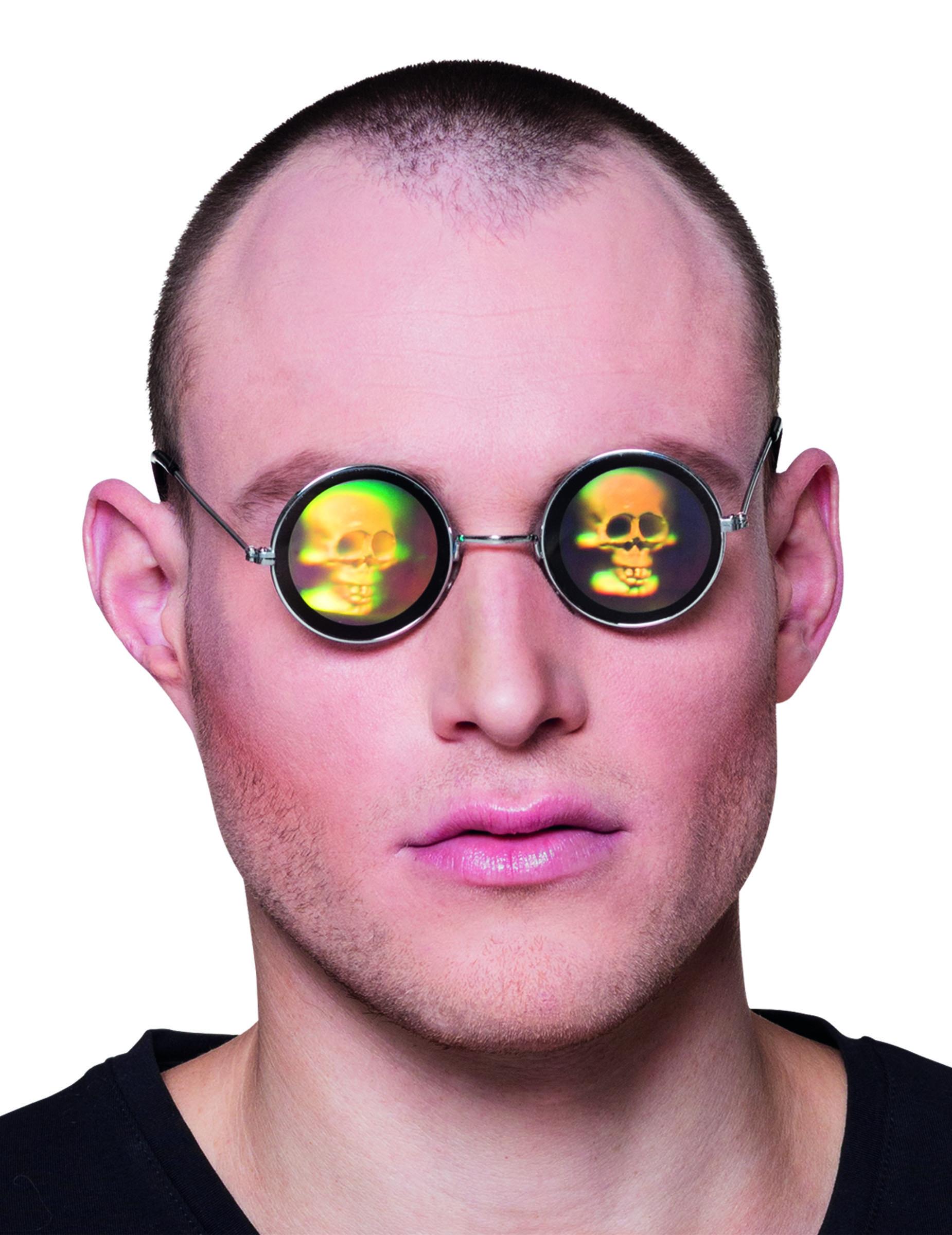 lunettes m tal rondes avec hologramme t te de mort. Black Bedroom Furniture Sets. Home Design Ideas