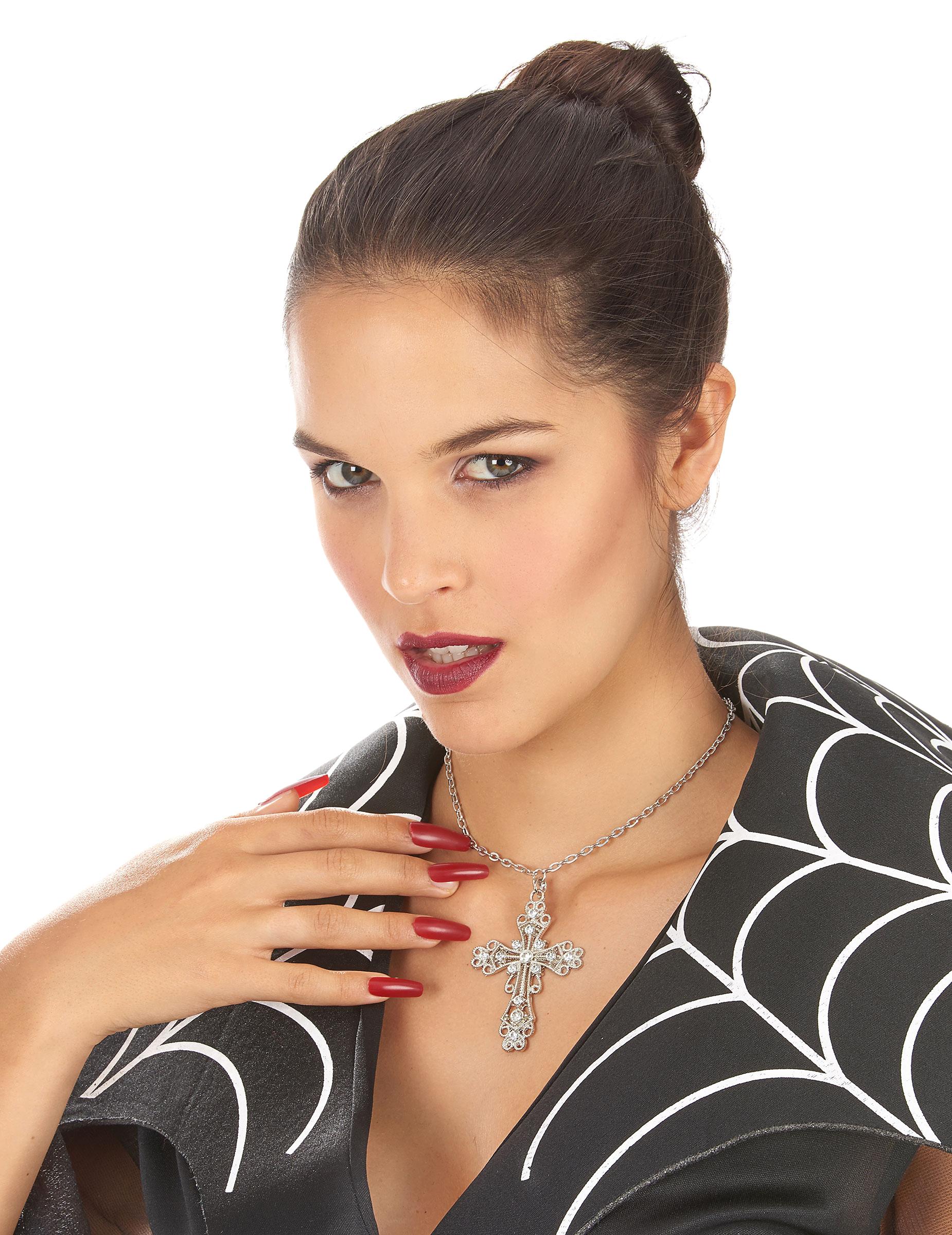 Collier croix fausses pierres pr cieuses deguise toi achat de accessoires - Fausse pierre precieuse ...