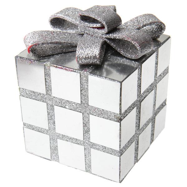 Cube de d coration de no l argent achat de decoration for Achat decoration de noel