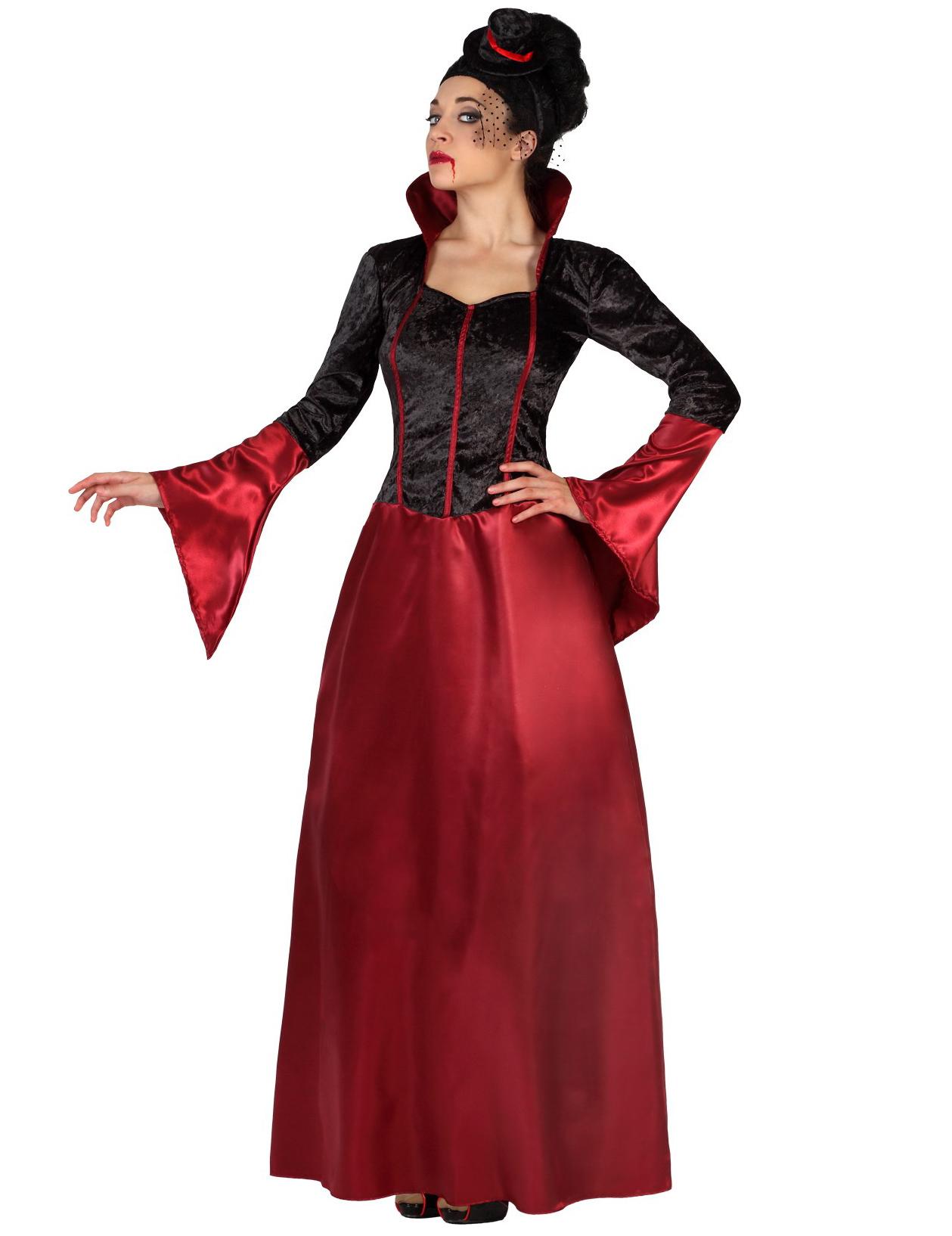 D guisement vampire rouge et noir femme halloween - Maquillage vampire femme adulte ...