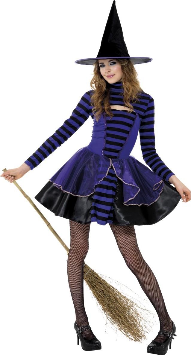 hexen verkleidung schwarz lila f r jugendliche halloween. Black Bedroom Furniture Sets. Home Design Ideas