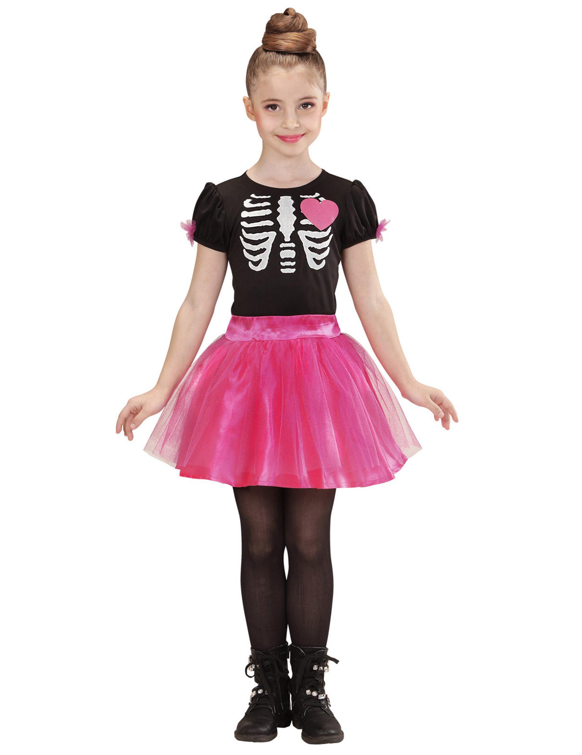 Vestito da scheletro Halloween bimba