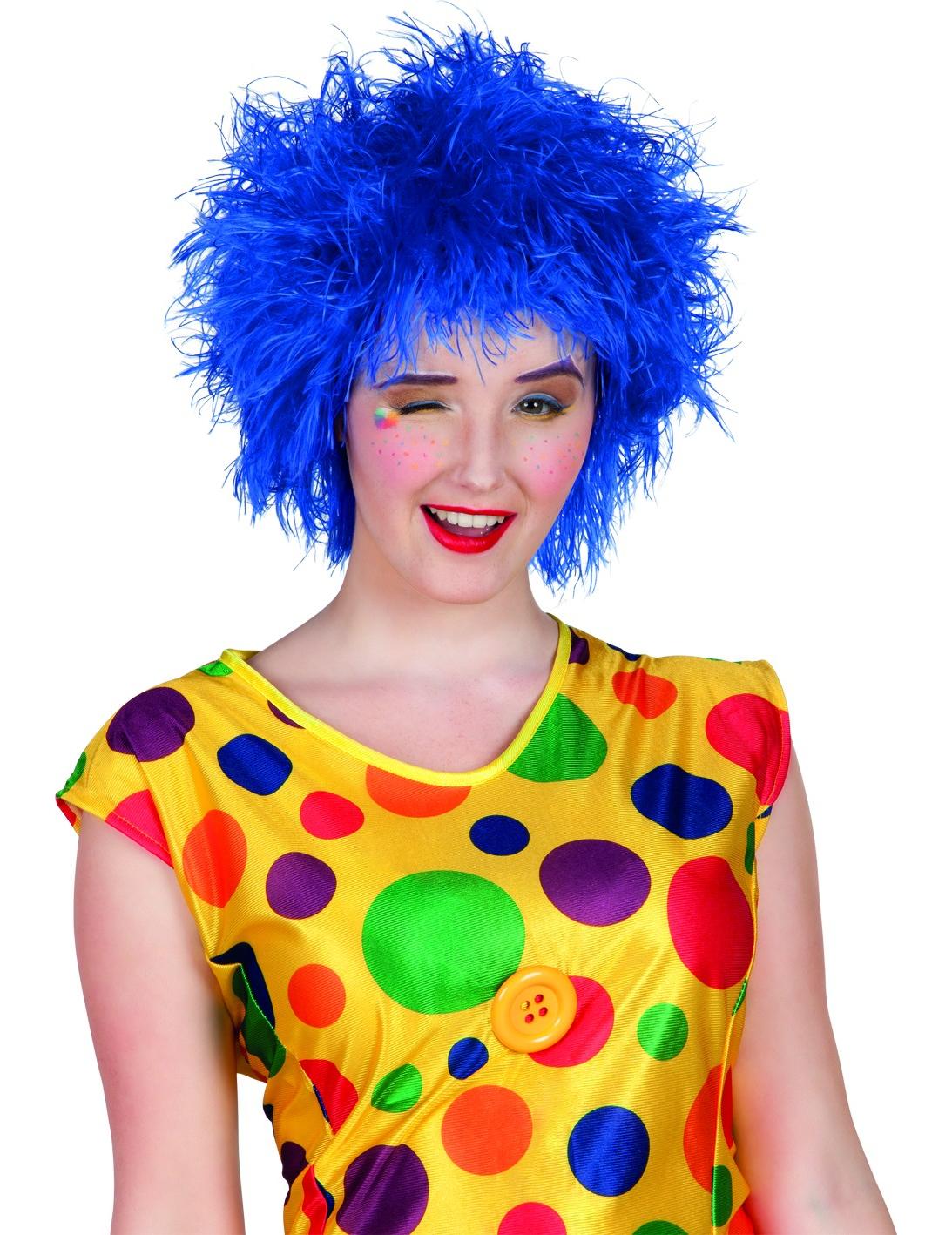 perruque clown colore bleue femme - Perruque Colore