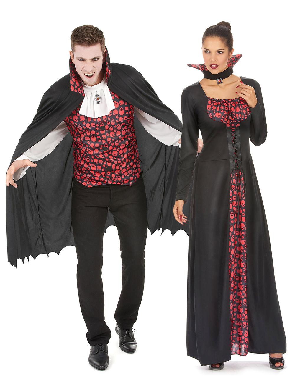 d guisement de couple vampire cr ne noir et rouge deguise toi achat de d guisements couples. Black Bedroom Furniture Sets. Home Design Ideas