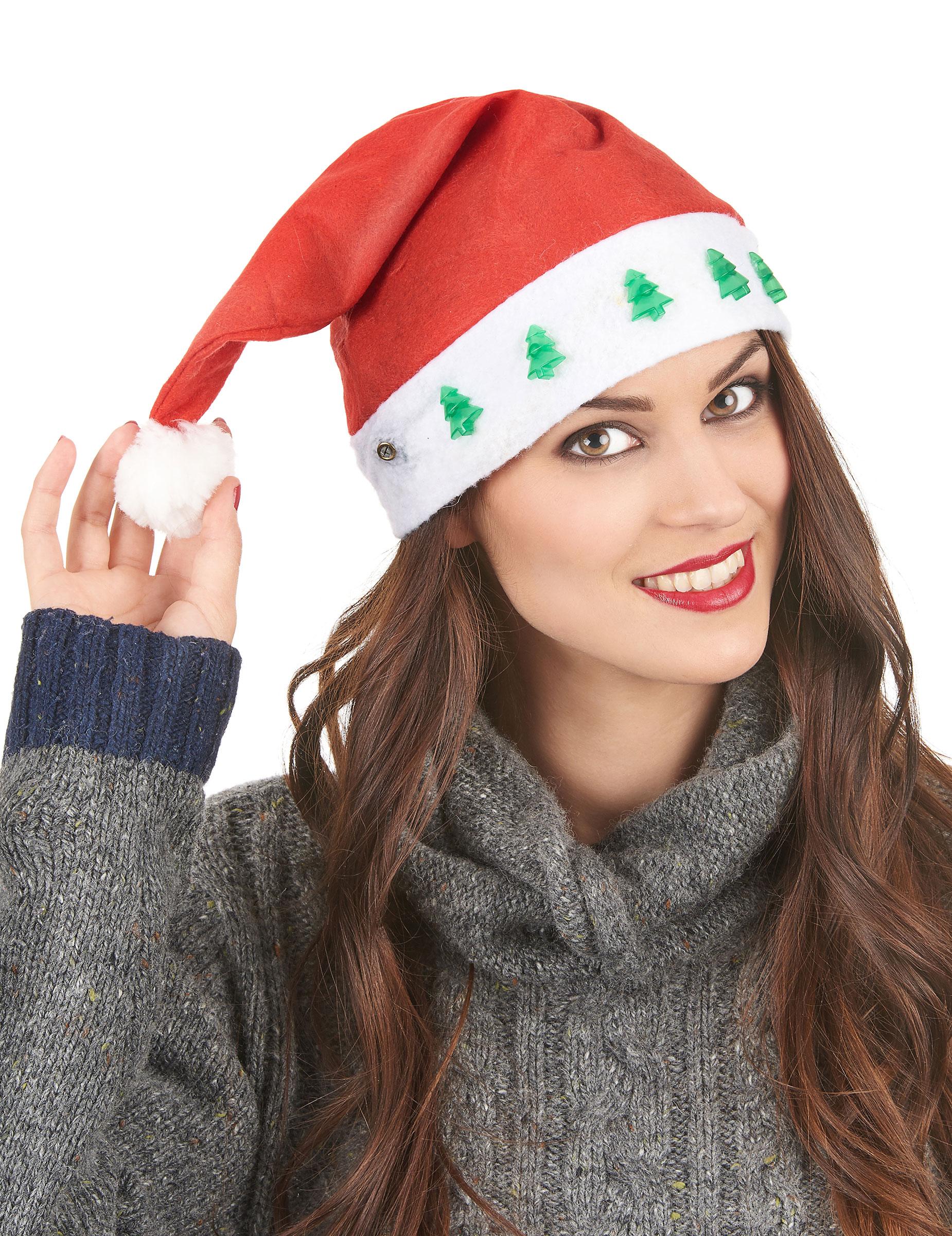 Bonnet Père Noël Lumineux Sapins verts