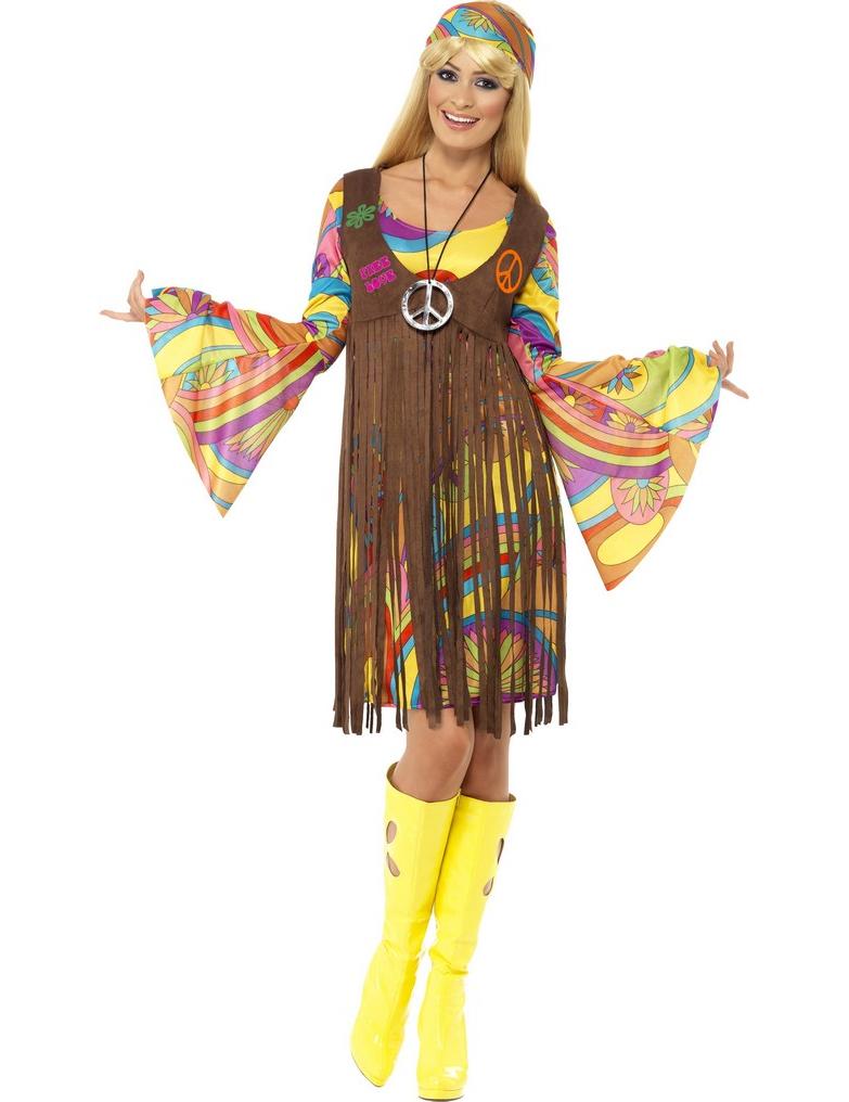 disfraz hippie flores a os 70. Black Bedroom Furniture Sets. Home Design Ideas