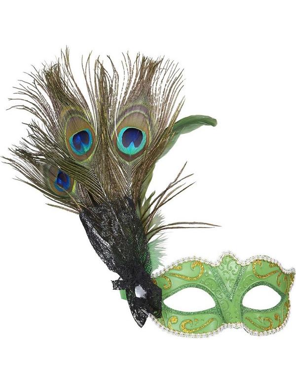 loup vert avec plumes paon adulte achat de masques sur vegaoopro grossiste en d guisements. Black Bedroom Furniture Sets. Home Design Ideas