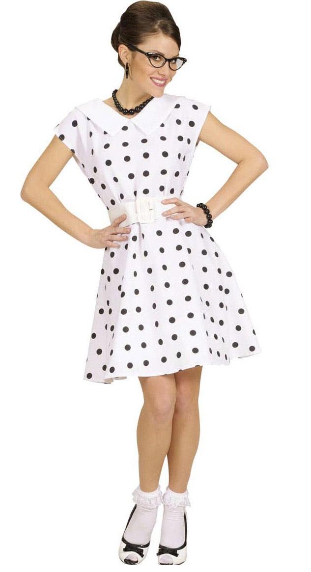 d guisement robe blanche pois ann es 50 femme achat de d guisements adultes sur vegaoopro. Black Bedroom Furniture Sets. Home Design Ideas
