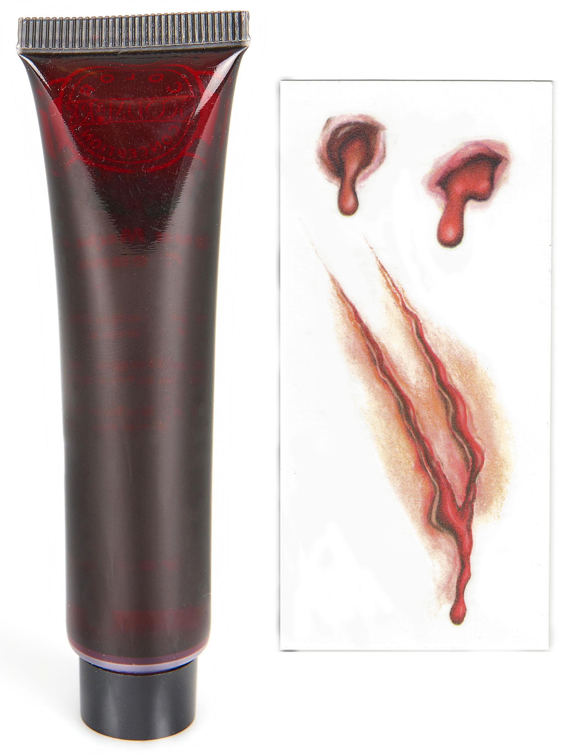 kit tatouage et faux sang halloween achat de maquillage. Black Bedroom Furniture Sets. Home Design Ideas