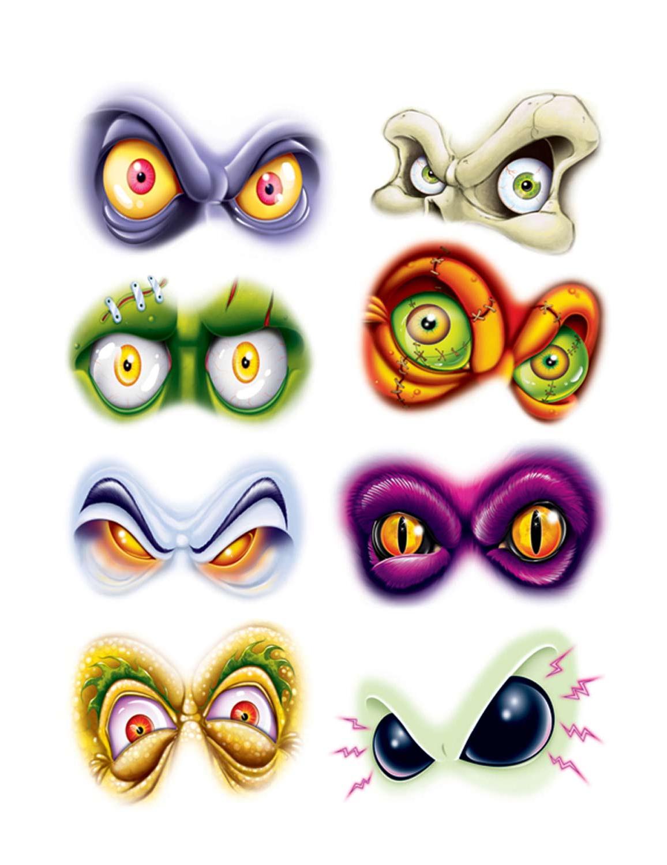 8 autocollants yeux mal fiques halloween achat de for Decoration yeux
