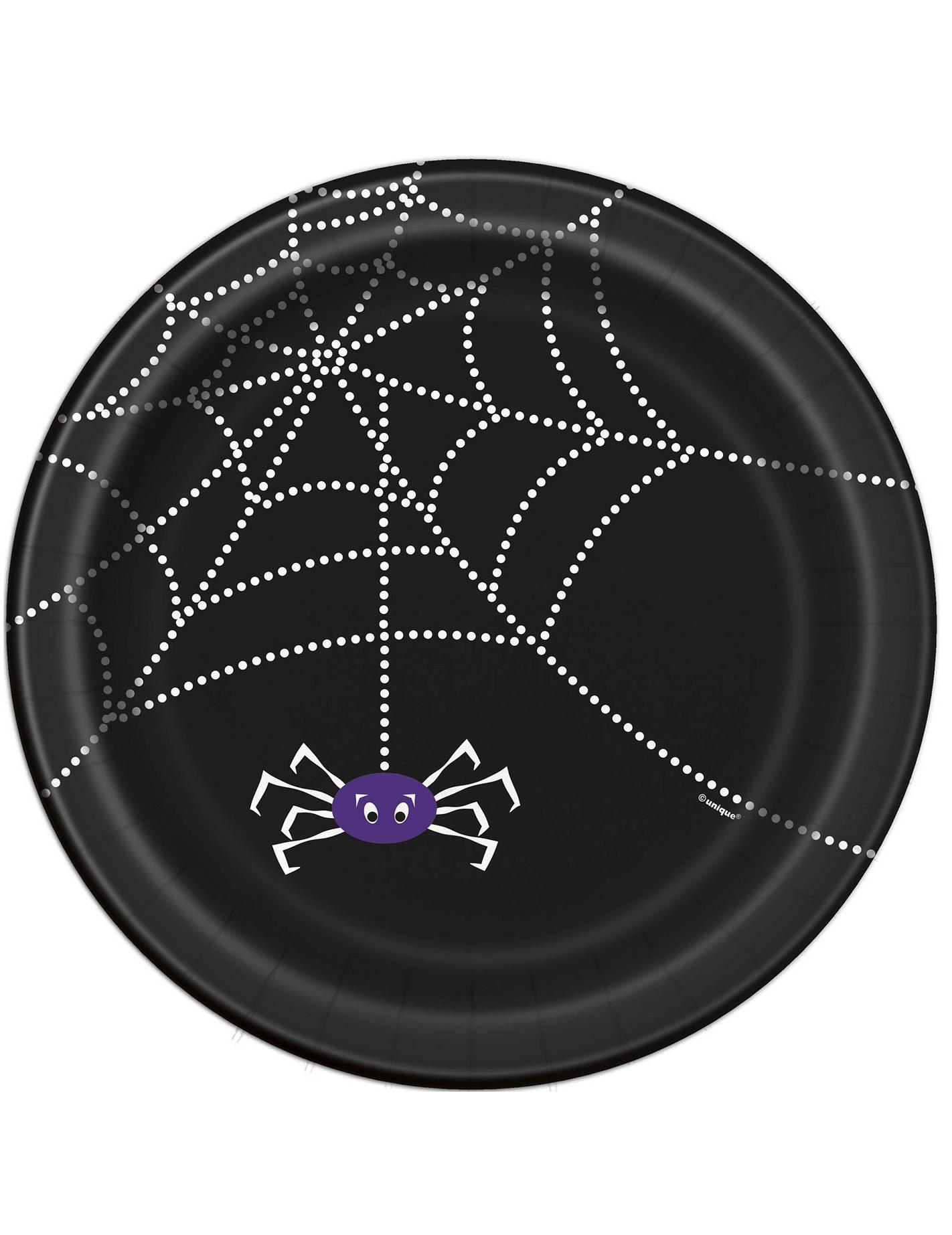 8 assiettes en carton toile d 39 araign e halloween 23 cm for Toile d araignee decoration