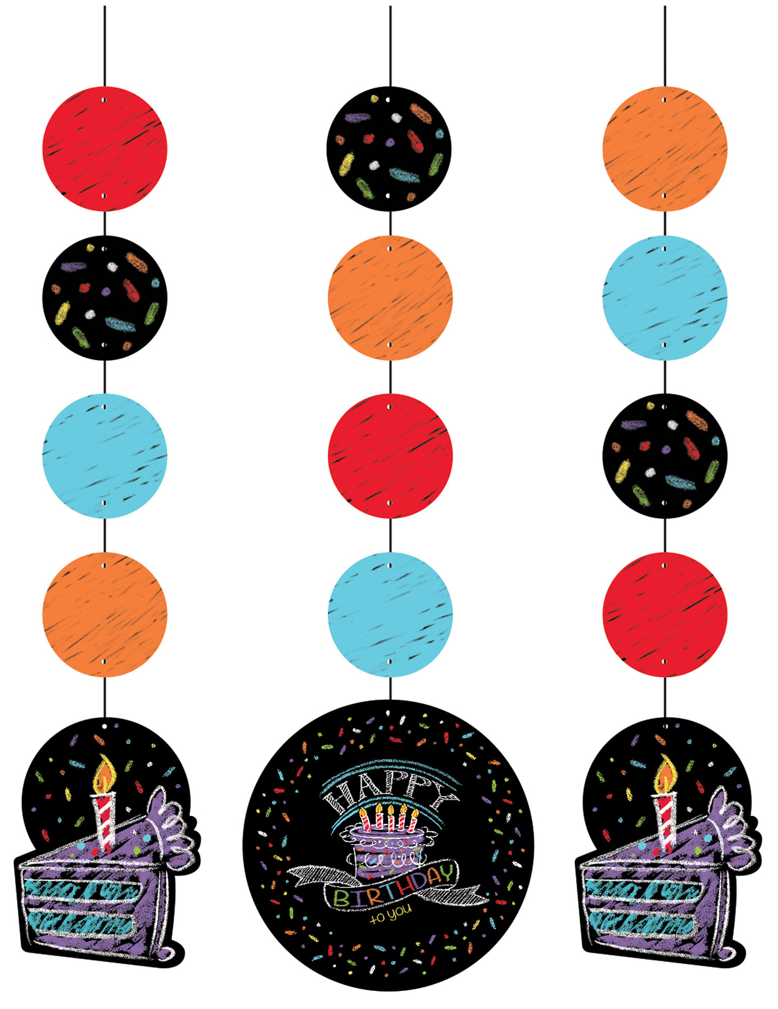 3 d corations suspendre confettis happy birthday. Black Bedroom Furniture Sets. Home Design Ideas