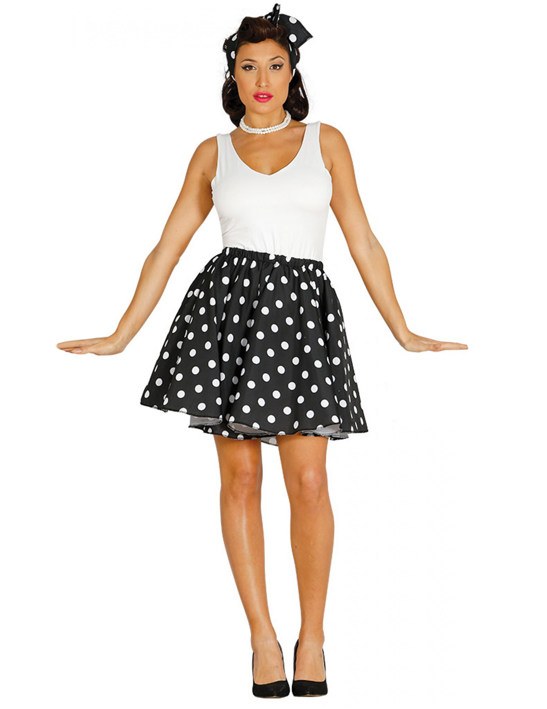 jupe et foulard noirs pois ann es 50 femme deguise toi achat de d guisements adultes. Black Bedroom Furniture Sets. Home Design Ideas