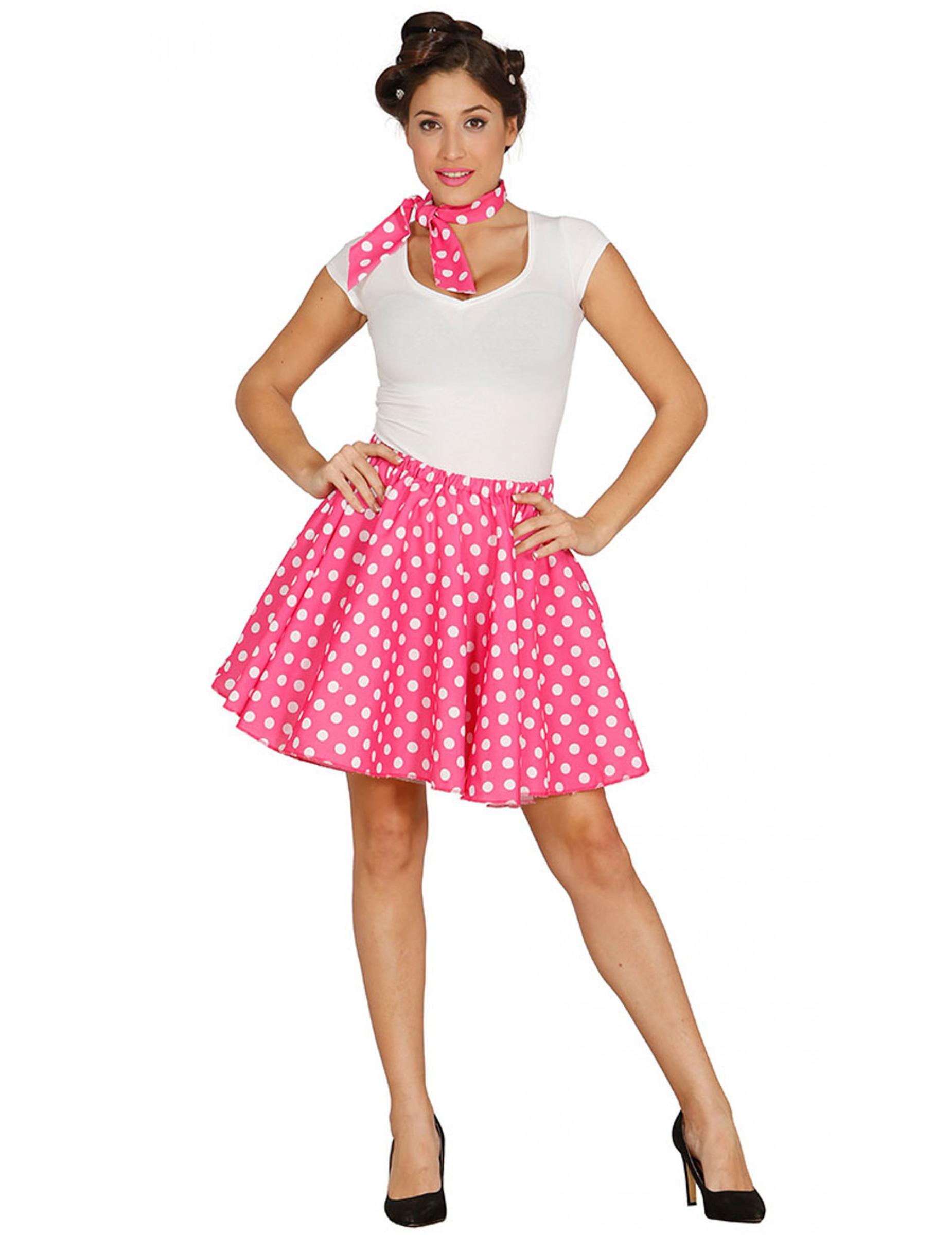 jupe et foulard roses pois ann es 50 femme deguise toi achat de d guisements adultes. Black Bedroom Furniture Sets. Home Design Ideas