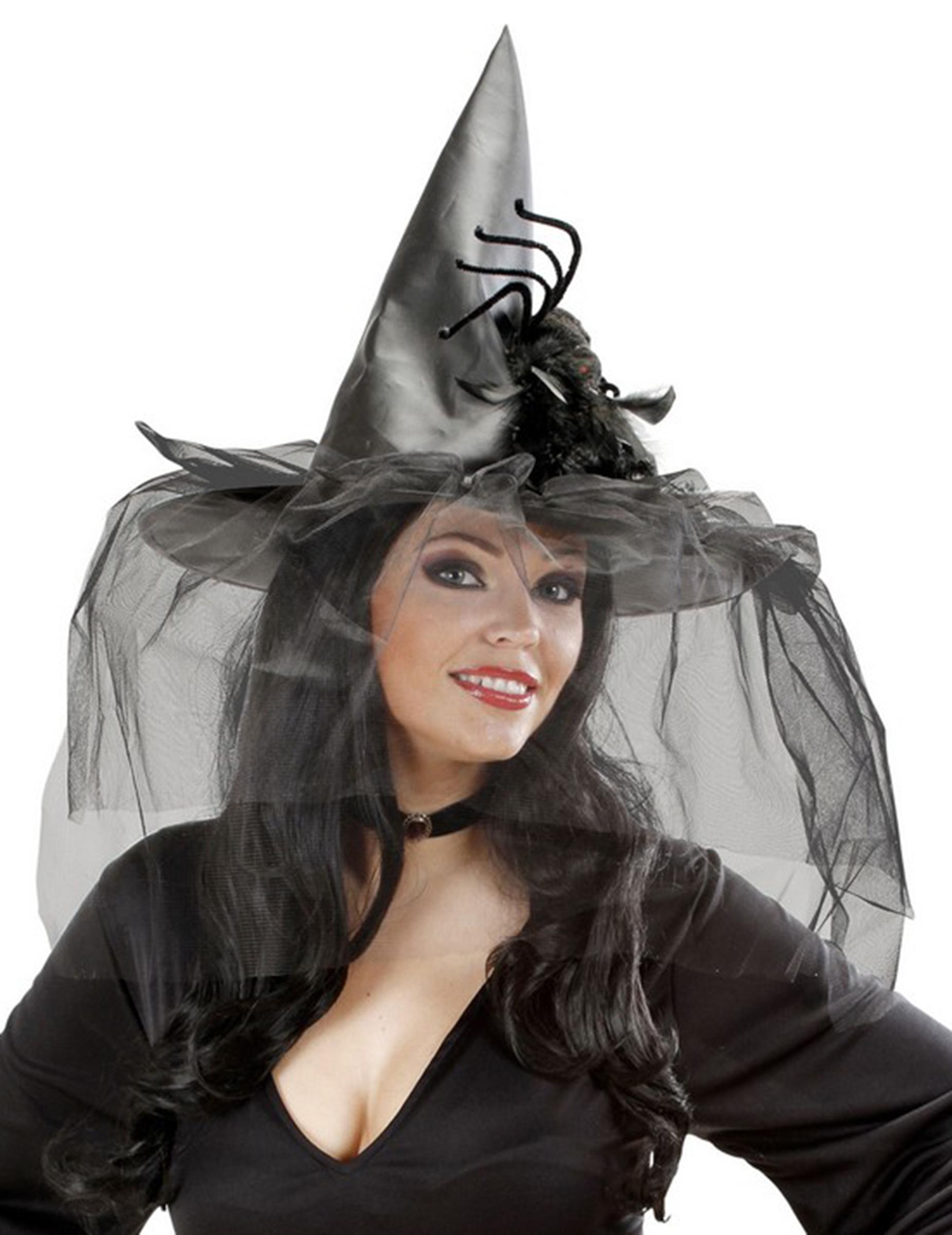 chapeau sorci re avec tulle et araign e femme halloween deguise toi achat de chapeaux. Black Bedroom Furniture Sets. Home Design Ideas