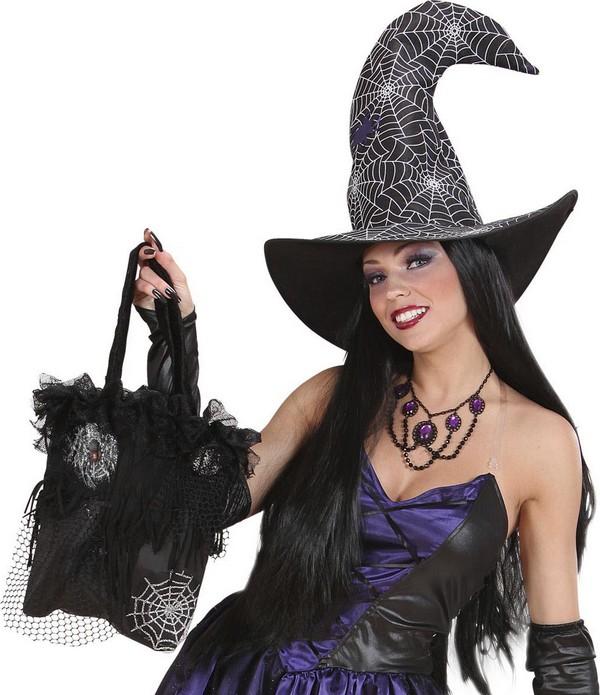 Sac main toiles d 39 araign es halloween deguise toi achat de accessoires - Maquillage halloween toile d araignee ...