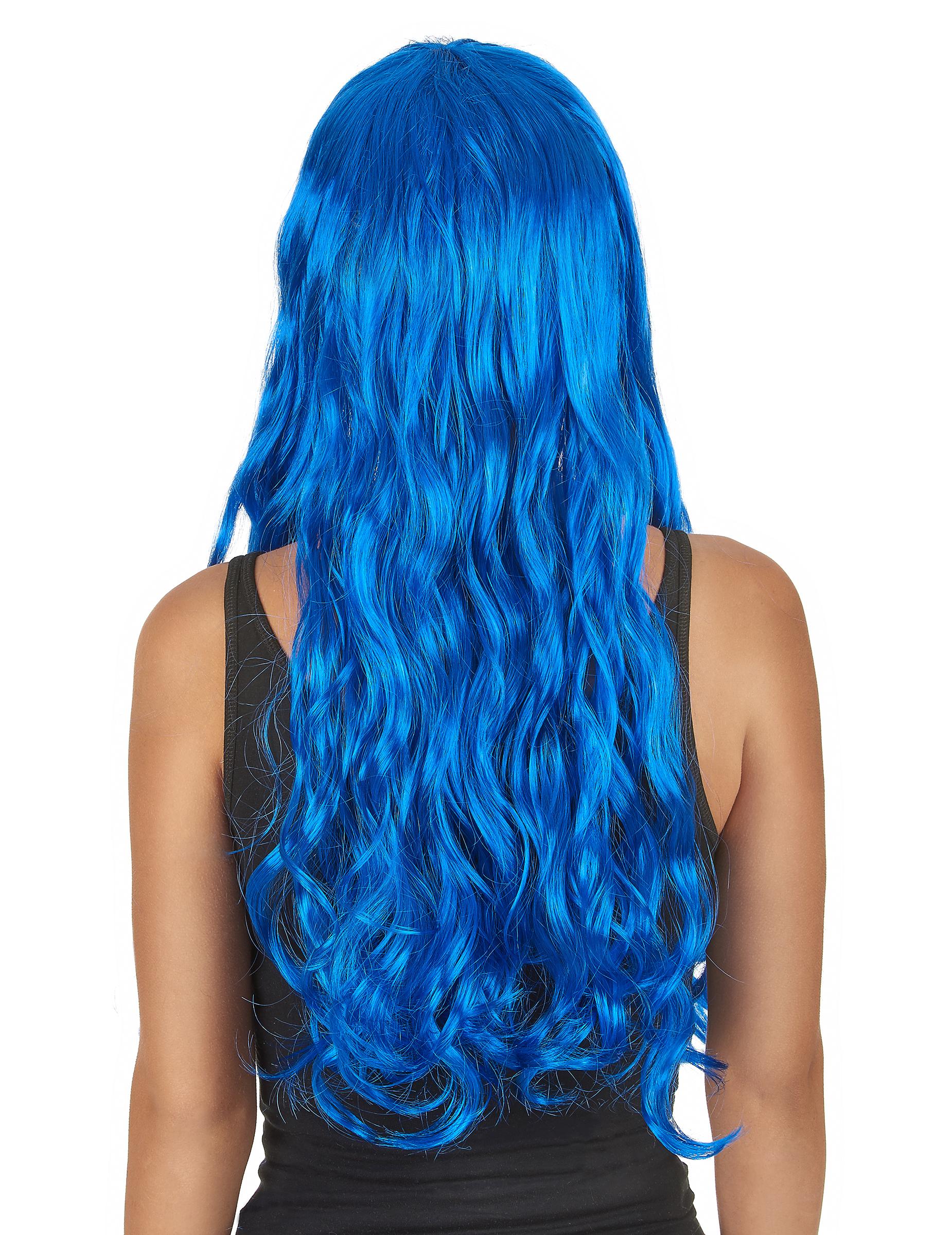 Perruque longue ondulée bleue avec frange femme, achat de Perruques sur VegaooPro, grossiste en ...