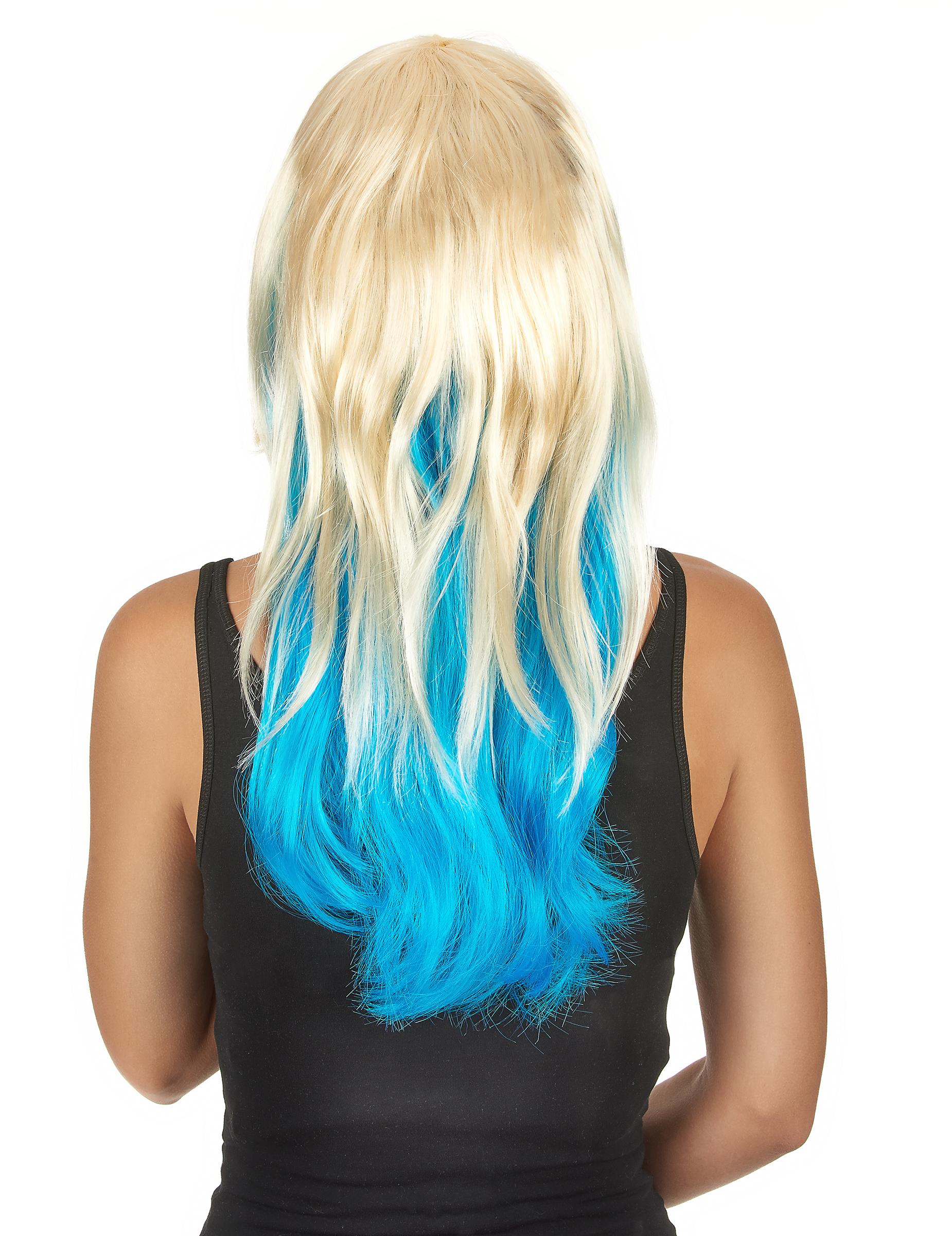 perruque tie dye blond et bleu femme deguise toi achat de perruques. Black Bedroom Furniture Sets. Home Design Ideas