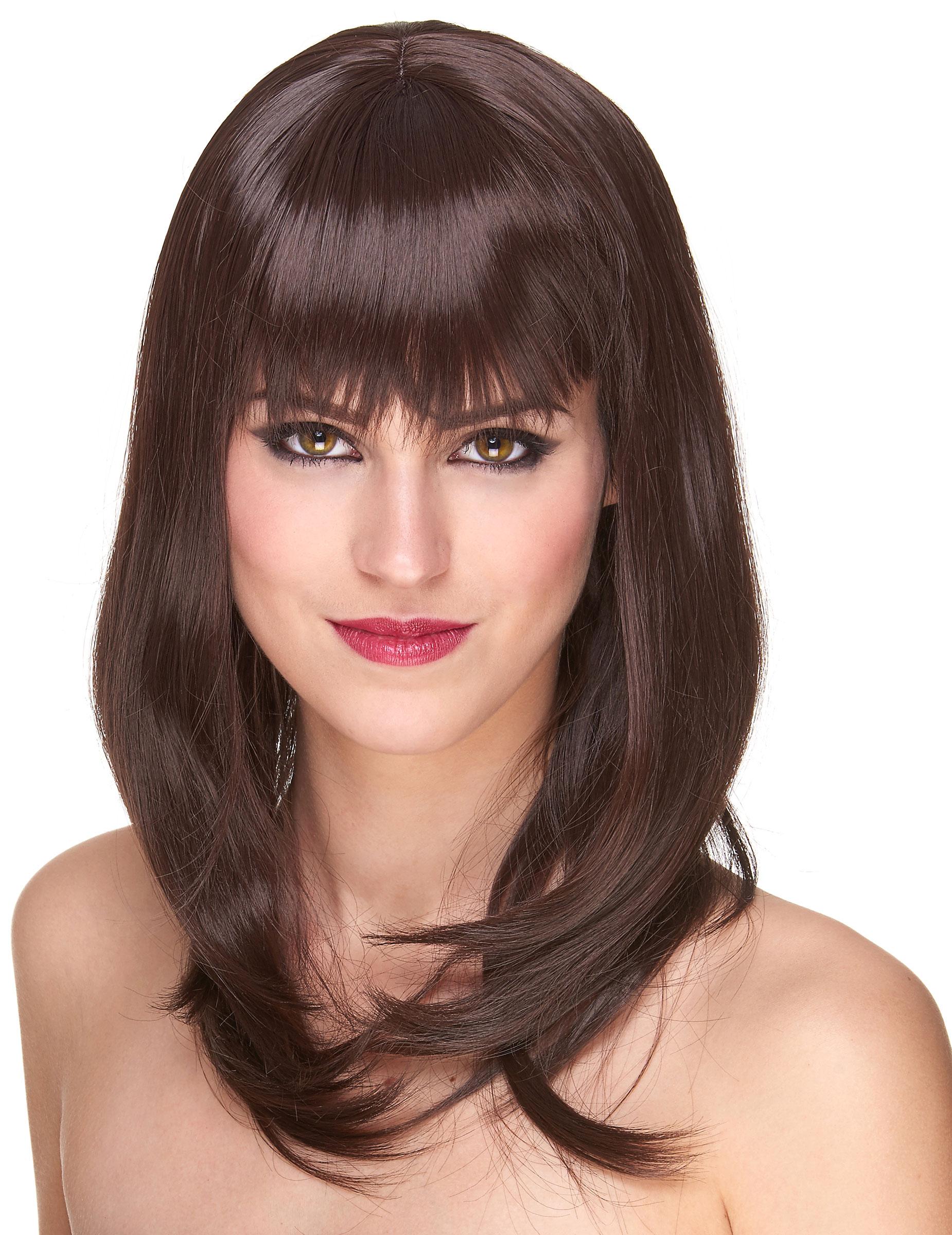 Perruque luxe noir mi-longue femme - 170g : Deguise-toi, achat de Perruques