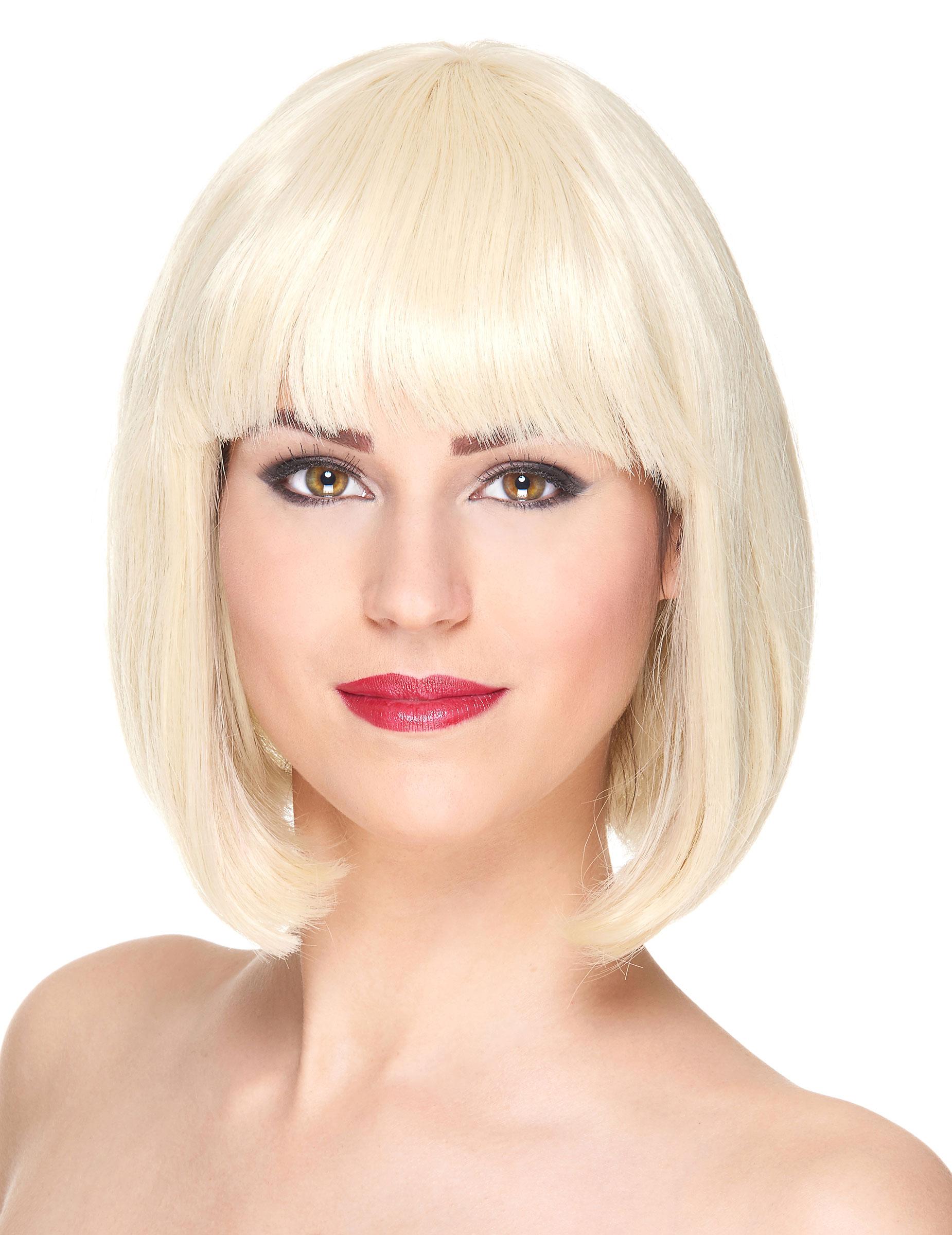 perruque luxe blonde carr court avec frange femme deguise toi achat de perruques. Black Bedroom Furniture Sets. Home Design Ideas