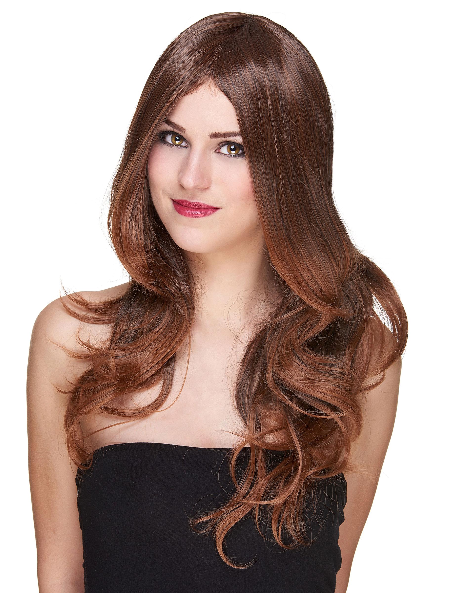 Perruque luxe chatain longue femme : Deguise-toi, achat de Perruques