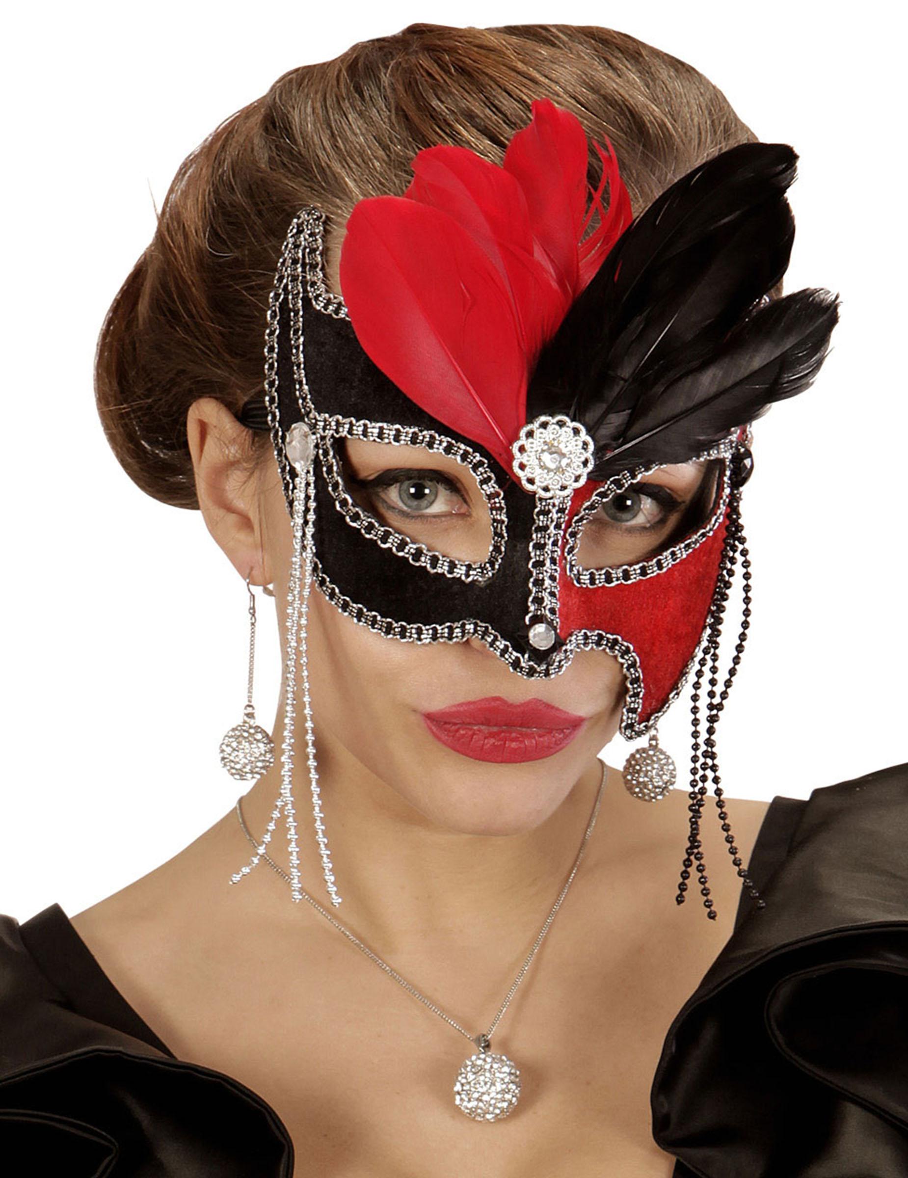 loup bicolore rouge et noir avec plumes femme achat de masques sur vegaoopro grossiste en. Black Bedroom Furniture Sets. Home Design Ideas