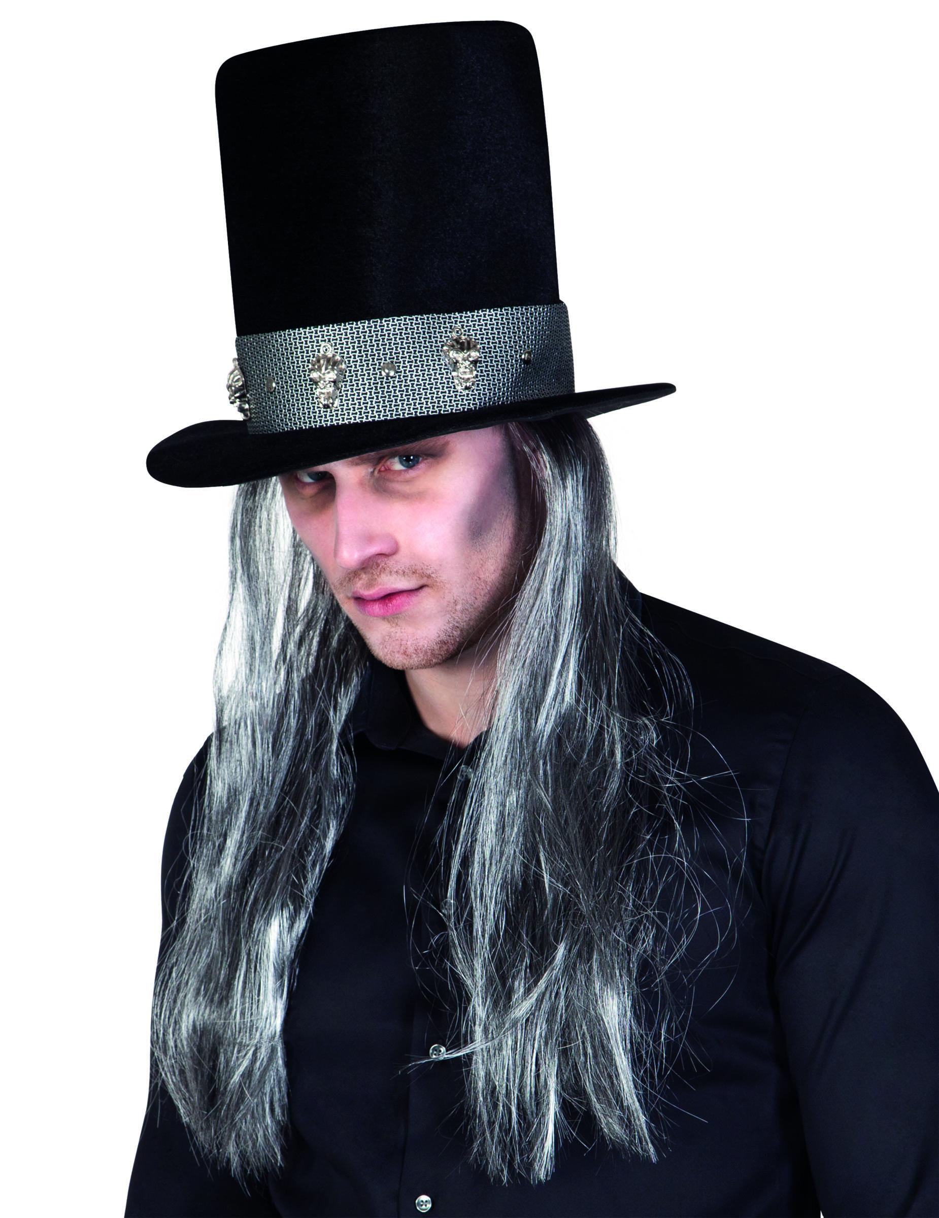 chapeau haut de forme gothique avec cheveux adulte halloween deguise toi achat de chapeaux. Black Bedroom Furniture Sets. Home Design Ideas